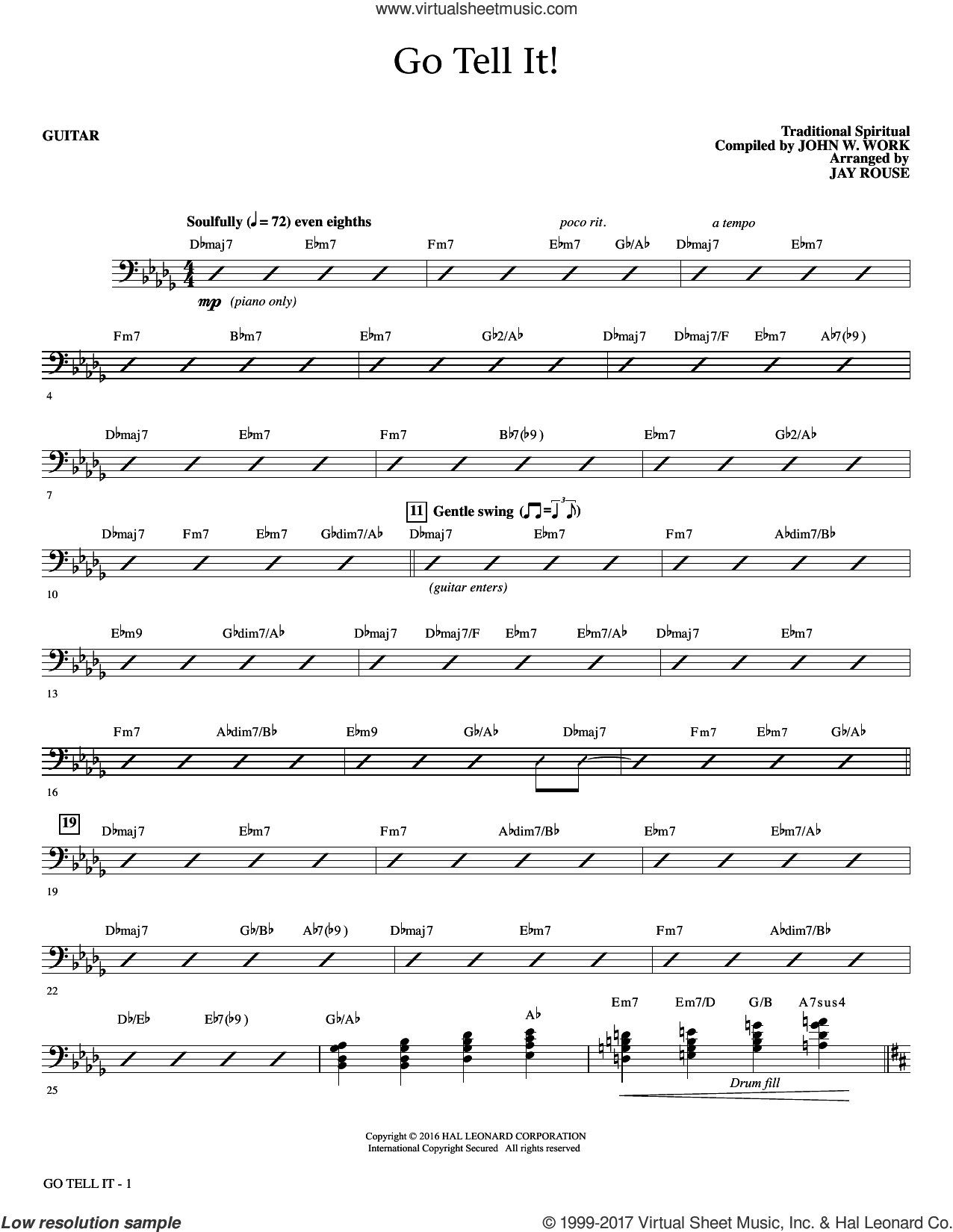 Go Tell It! (complete set of parts) sheet music for orchestra/band by John W. Work, Jr., Jay Rouse and Miscellaneous, intermediate