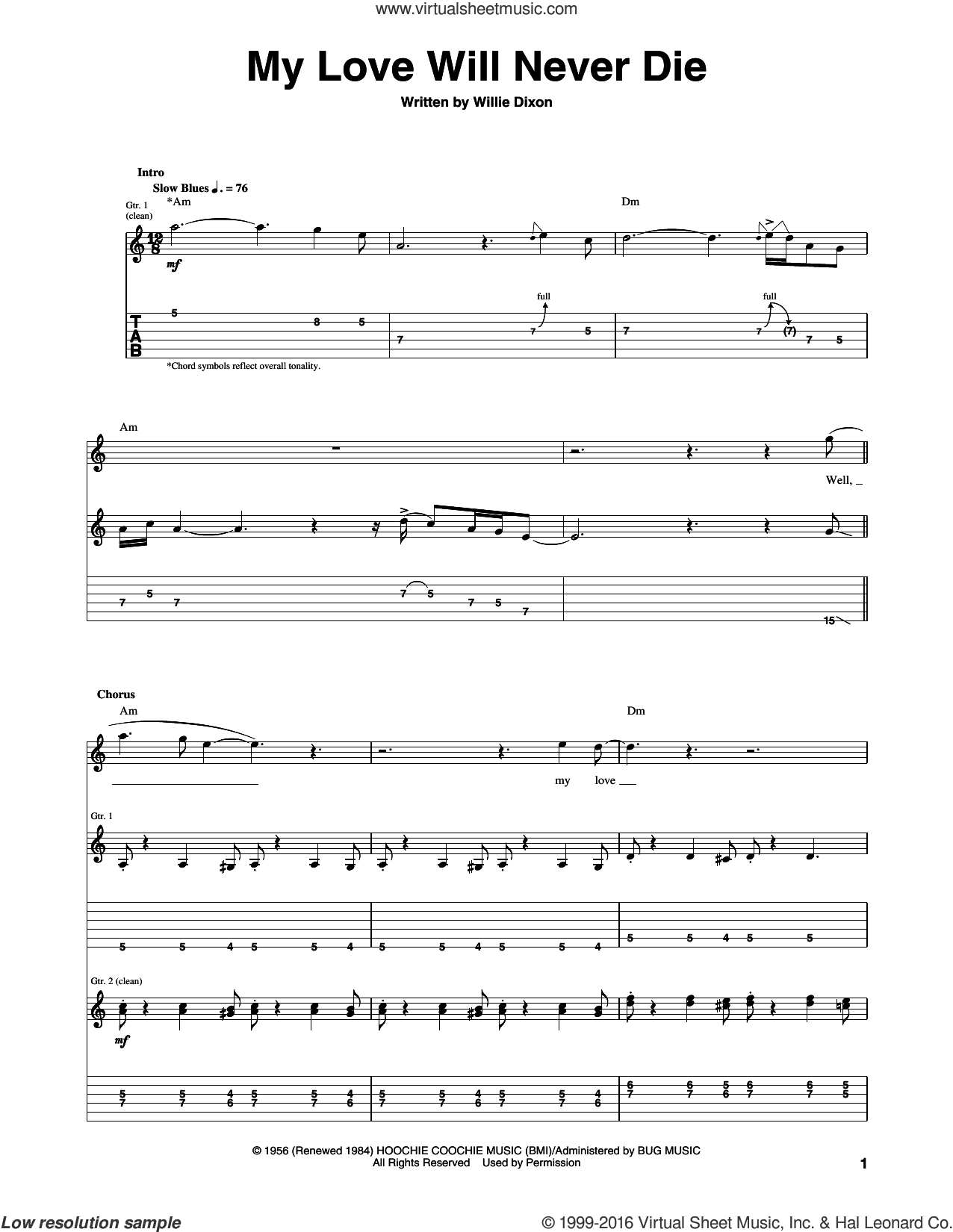 My Love Will Never Die sheet music for guitar (tablature) by Willie Dixon and Otis Rush. Score Image Preview.