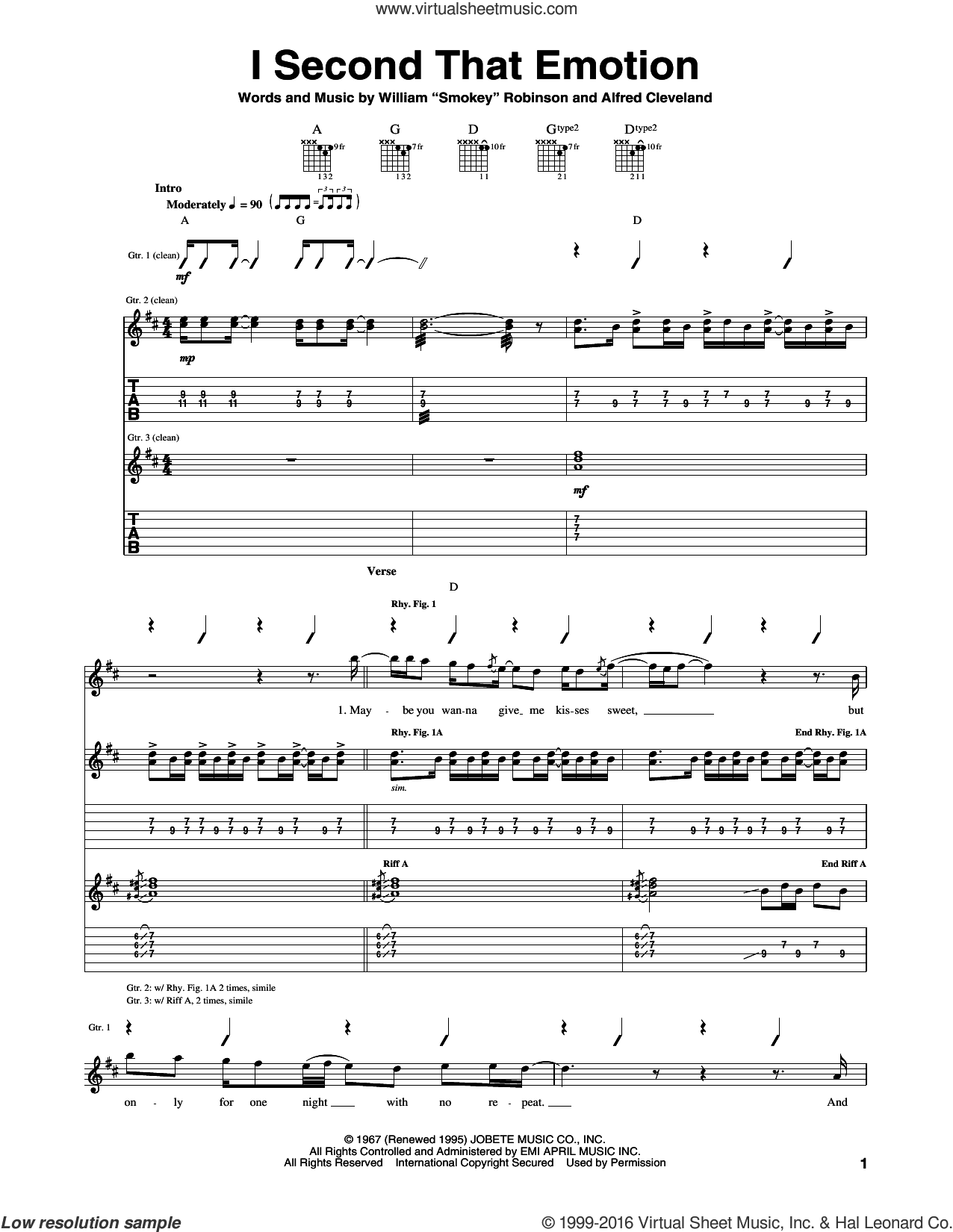 I Second That Emotion sheet music for guitar (tablature) by Smokey Robinson & The Miracles and Alfred Cleveland, intermediate