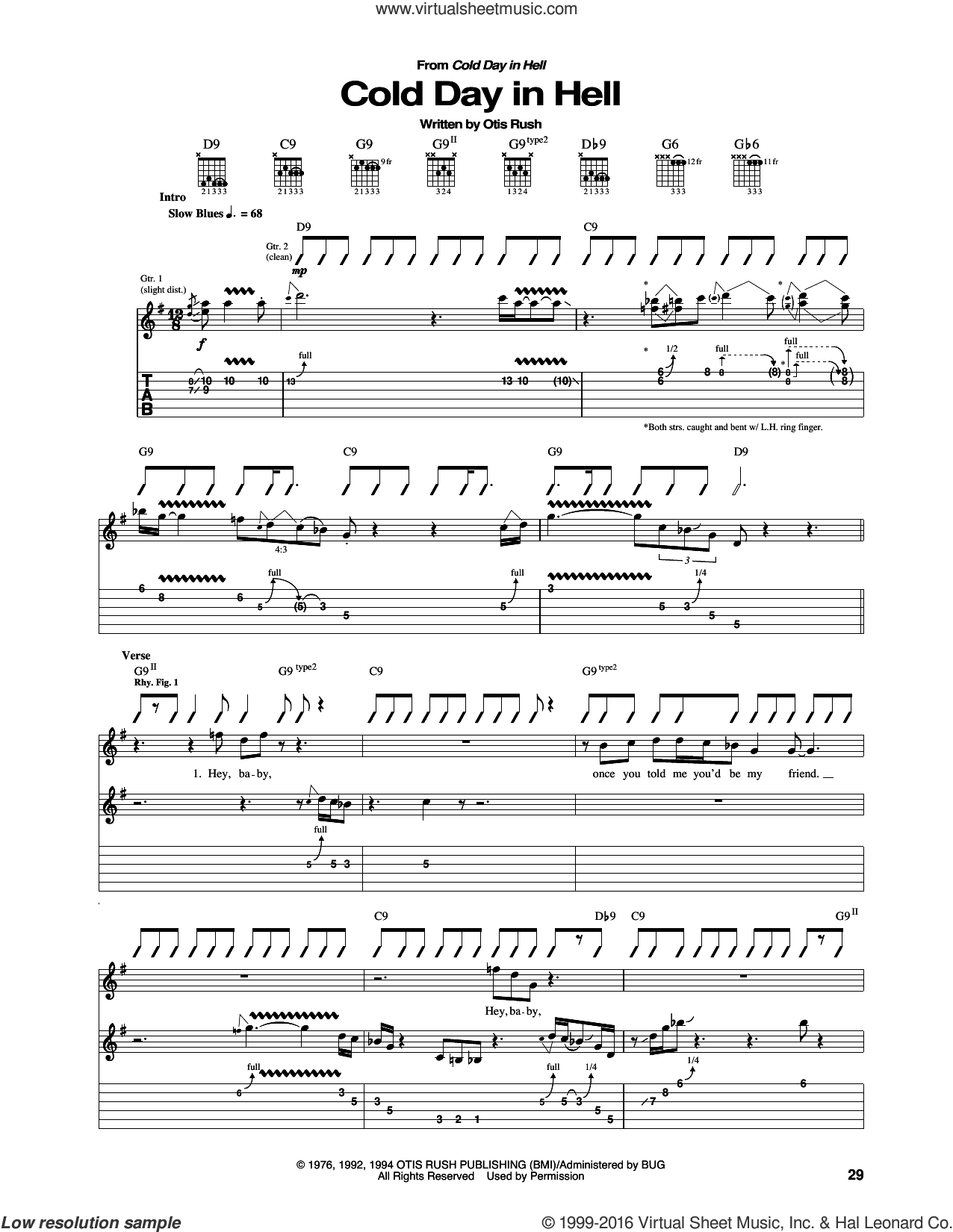Cold Day In Hell sheet music for guitar (tablature) by Otis Rush. Score Image Preview.