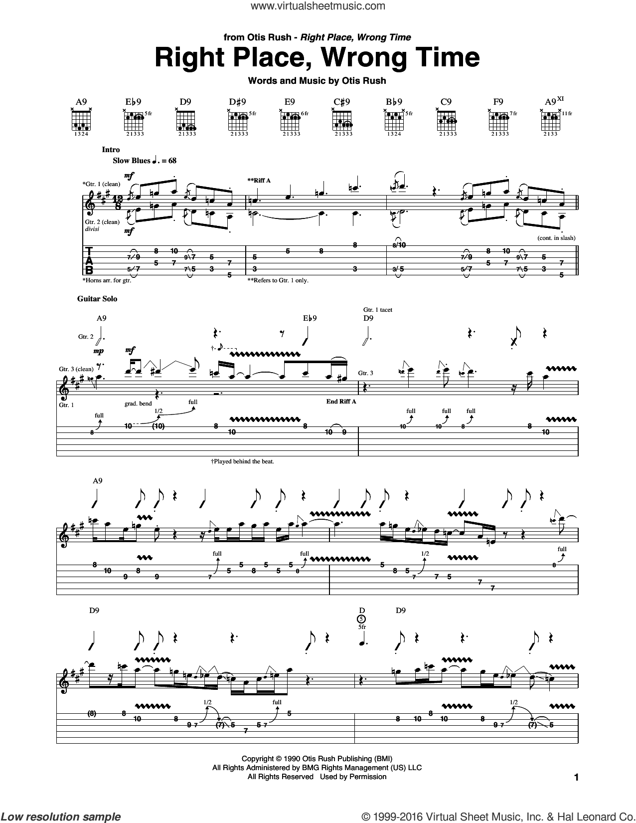 Right Place, Wrong Time sheet music for guitar (tablature) by Otis Rush, intermediate guitar (tablature). Score Image Preview.
