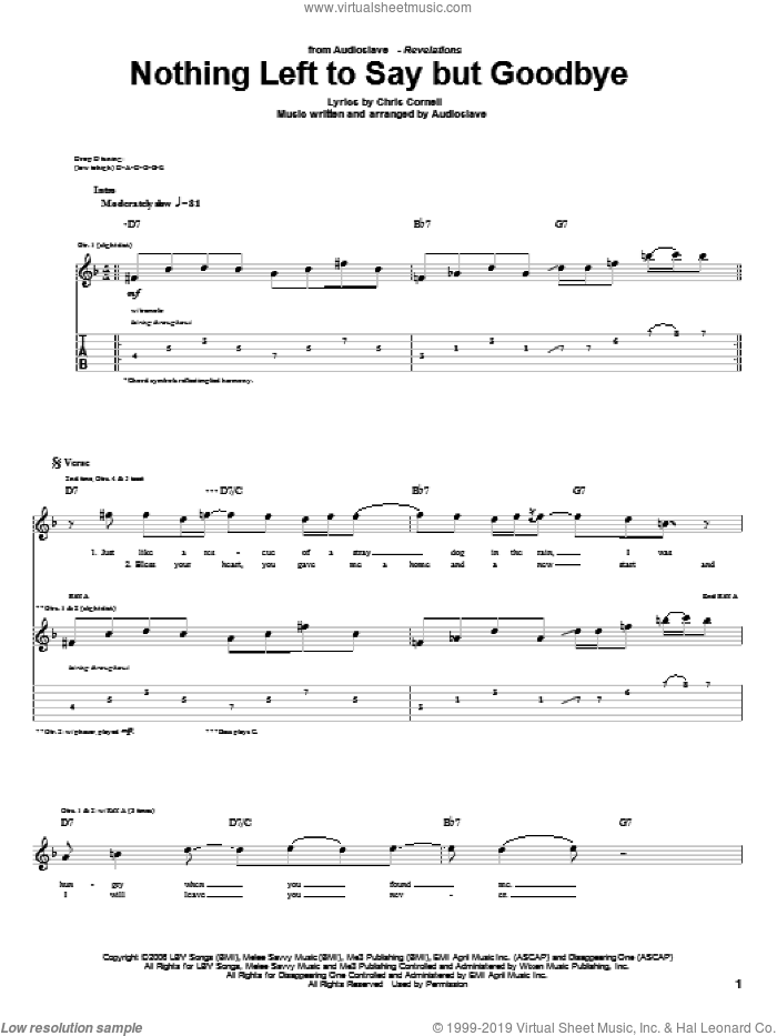 Nothing Left To Say But Goodbye sheet music for guitar (tablature) by Chris Cornell. Score Image Preview.