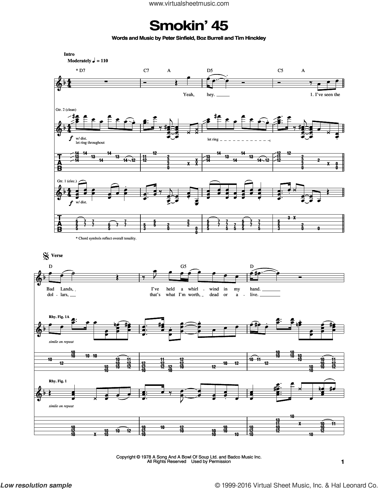 Smokin' 45 sheet music for guitar (tablature) by Bad Company, Boz Burrell, Peter Sinfield and Tim Hinckley, intermediate skill level