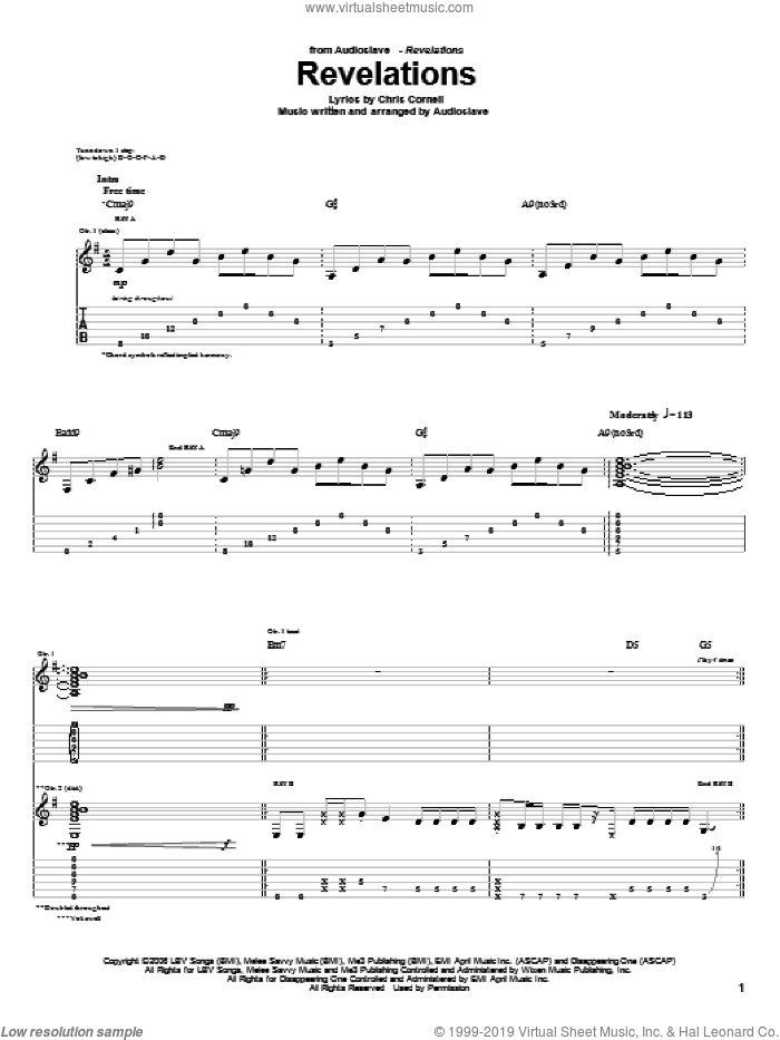 Revelations sheet music for guitar (tablature) by Chris Cornell. Score Image Preview.
