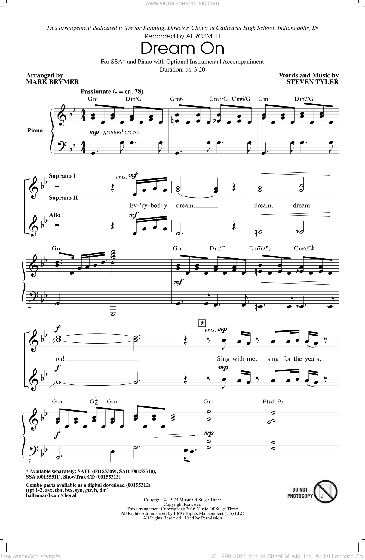 Dream On sheet music for choir (soprano voice, alto voice, choir) by Steven Tyler, Mark Brymer and Aerosmith. Score Image Preview.