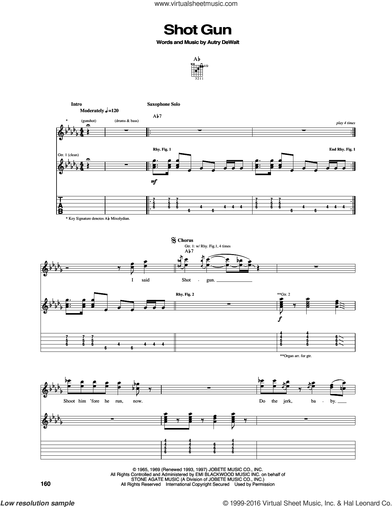 Shotgun sheet music for guitar (tablature) by Autry DeWalt. Score Image Preview.