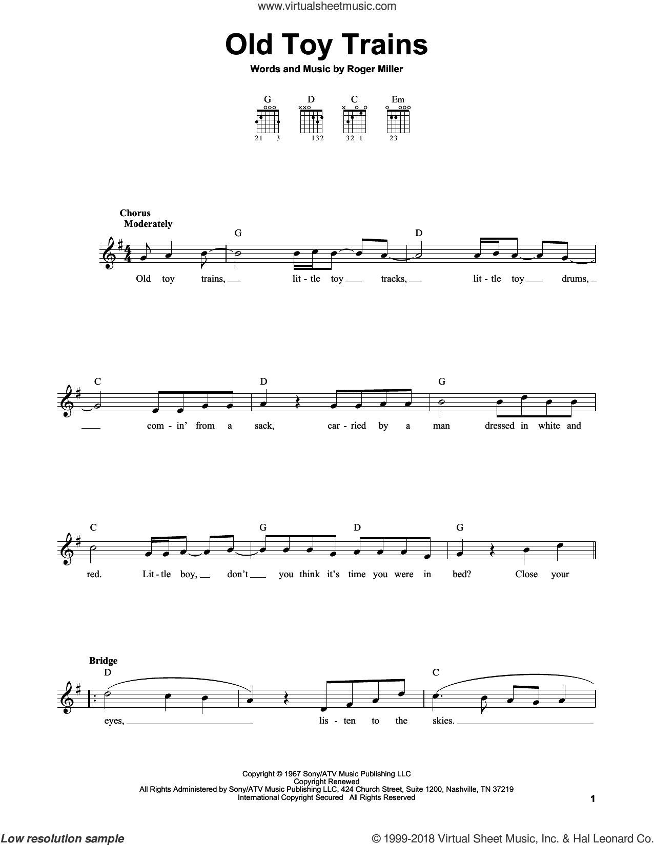 Old Toy Trains sheet music for guitar solo (chords) by Roger Miller. Score Image Preview.