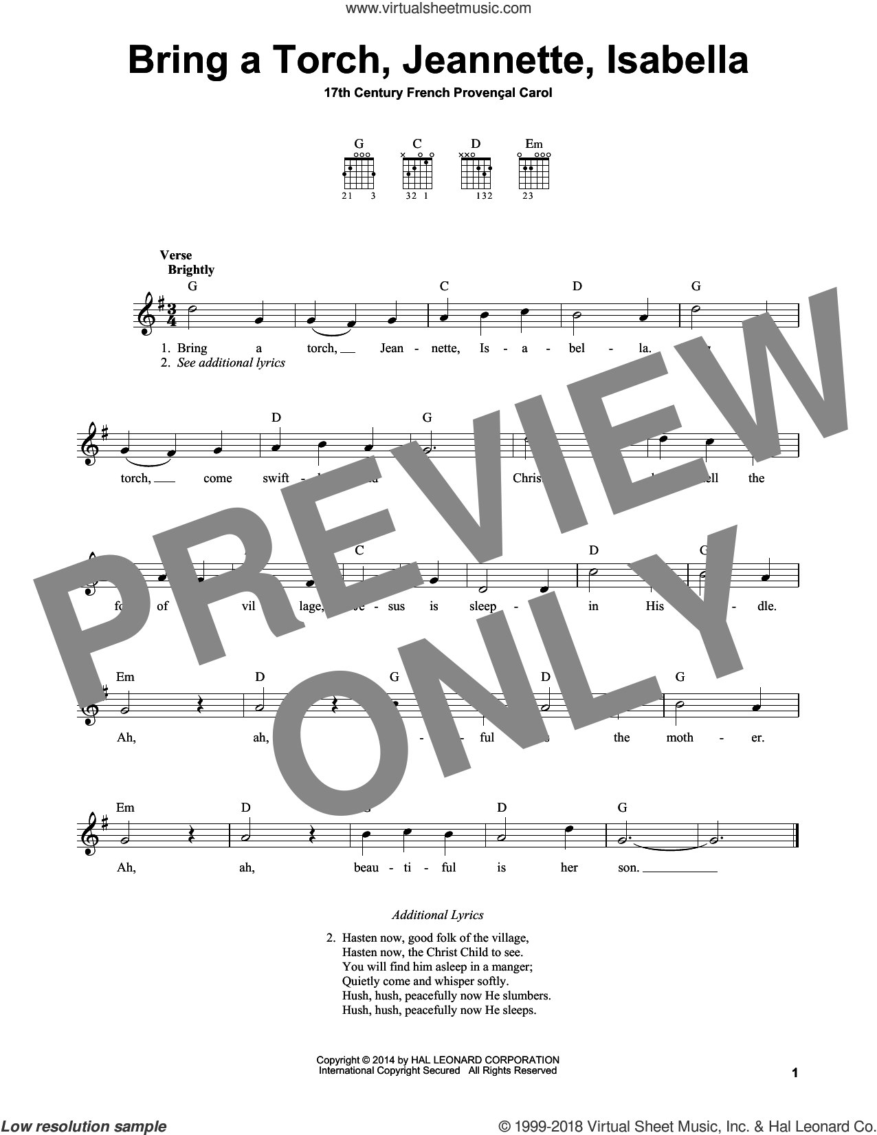 Bring A Torch, Jeannette, Isabella sheet music for guitar solo (chords) by Anonymous and Miscellaneous. Score Image Preview.