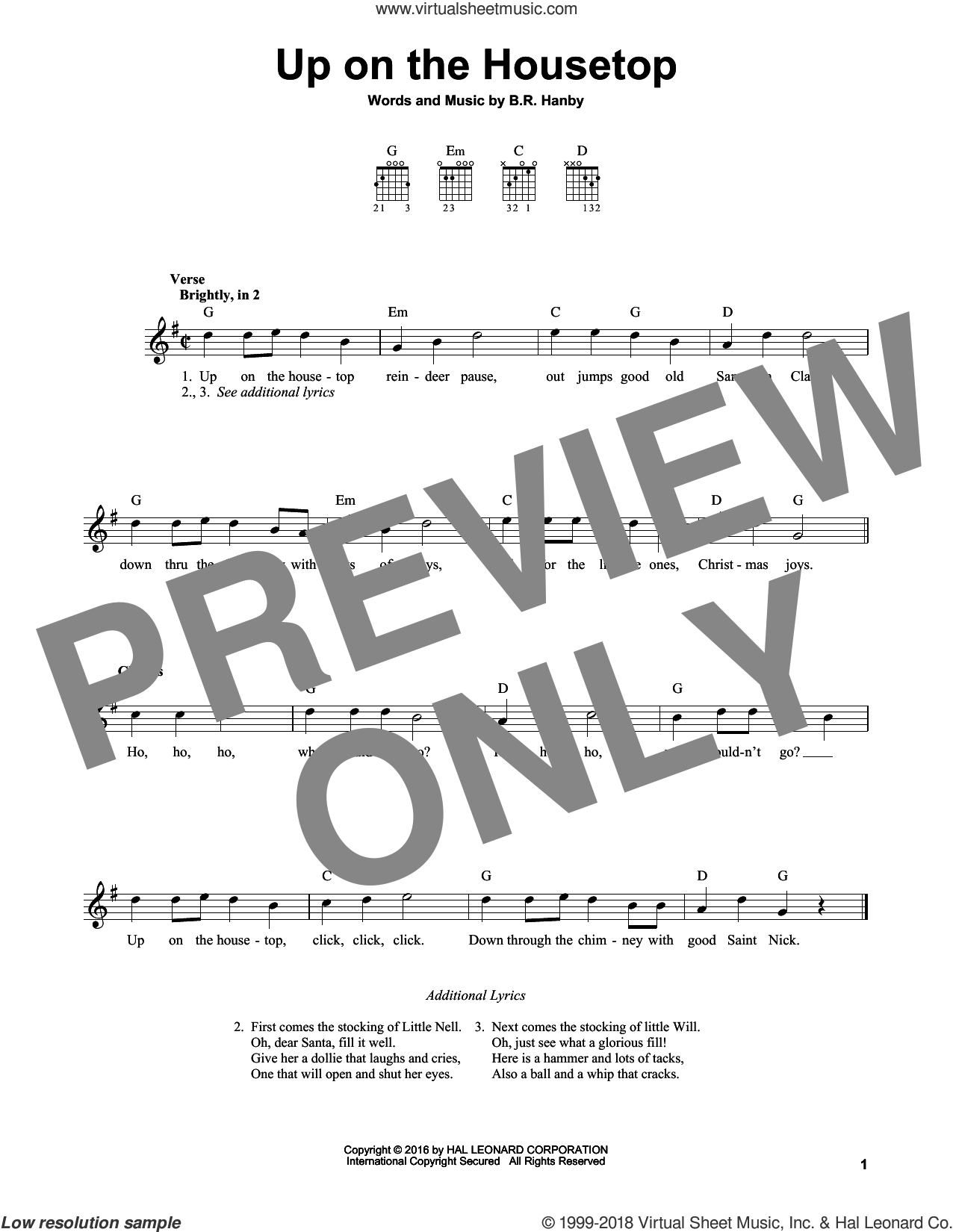 Up On The Housetop sheet music for guitar solo (chords) by Benjamin Hanby