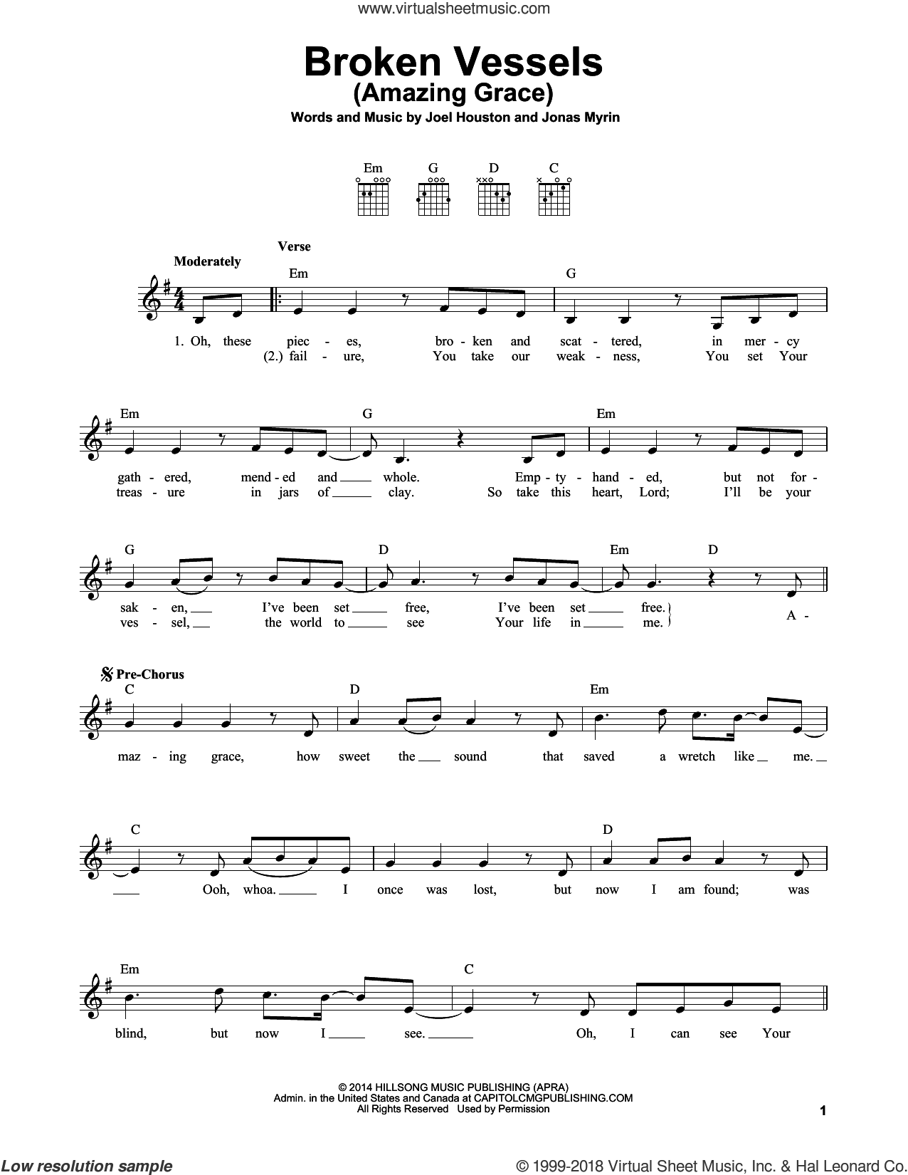 Broken Vessels (Amazing Grace) sheet music for guitar solo (chords) by Hillsong Worship, Joel Houston and Jonas Myrin, easy guitar (chords)