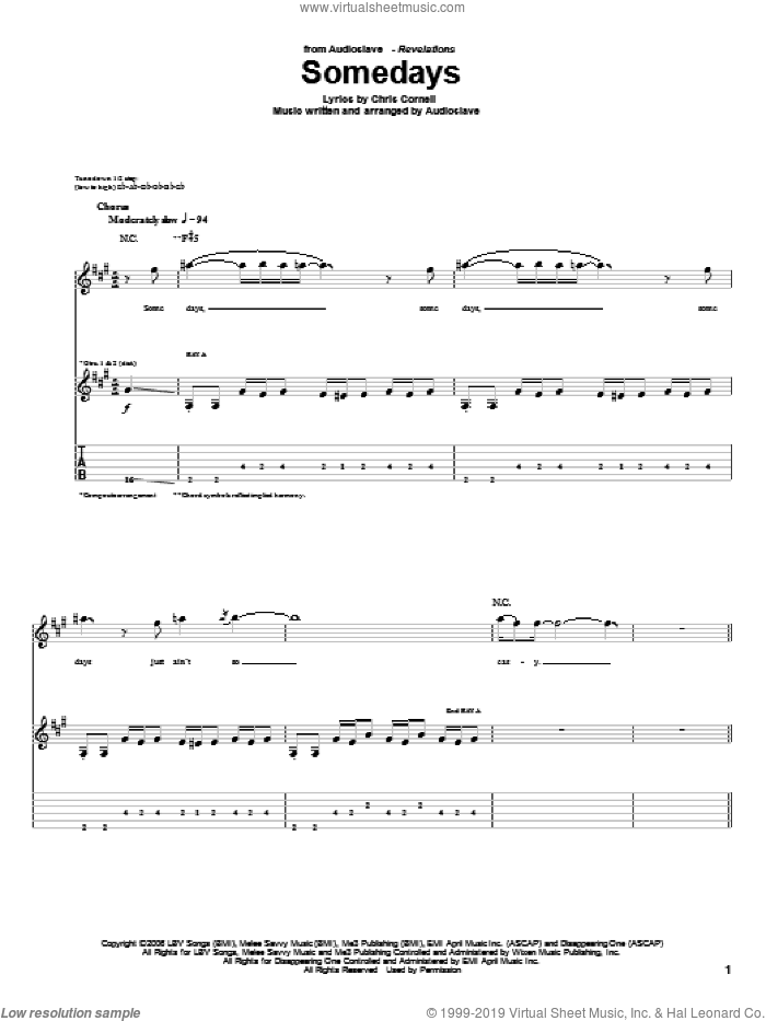 Somedays sheet music for guitar (tablature) by Chris Cornell. Score Image Preview.