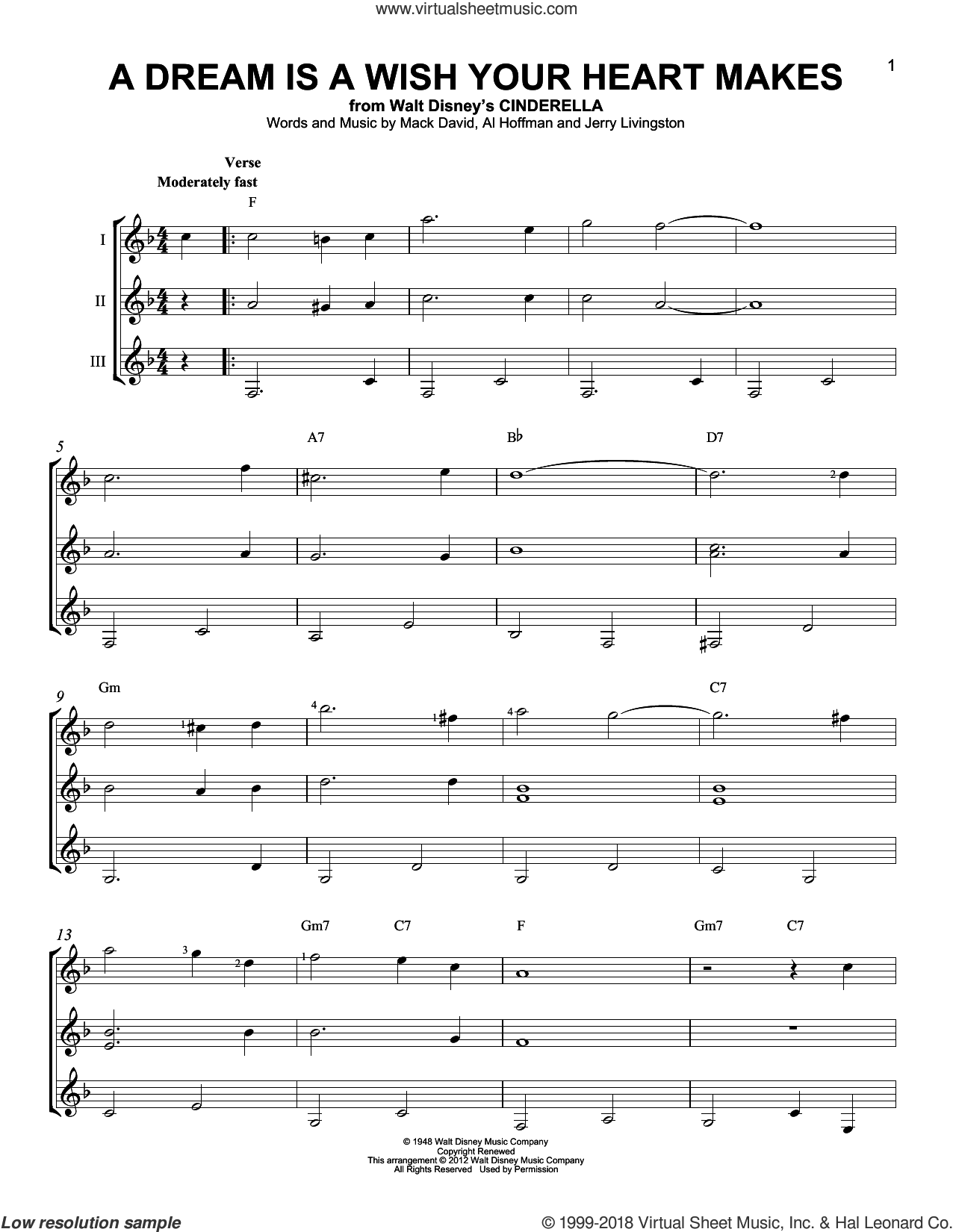A Dream Is A Wish Your Heart Makes sheet music for guitar ensemble by Al Hoffman, Linda Ronstadt, Miscellaneous, Jerry Livingston and Mack David. Score Image Preview.