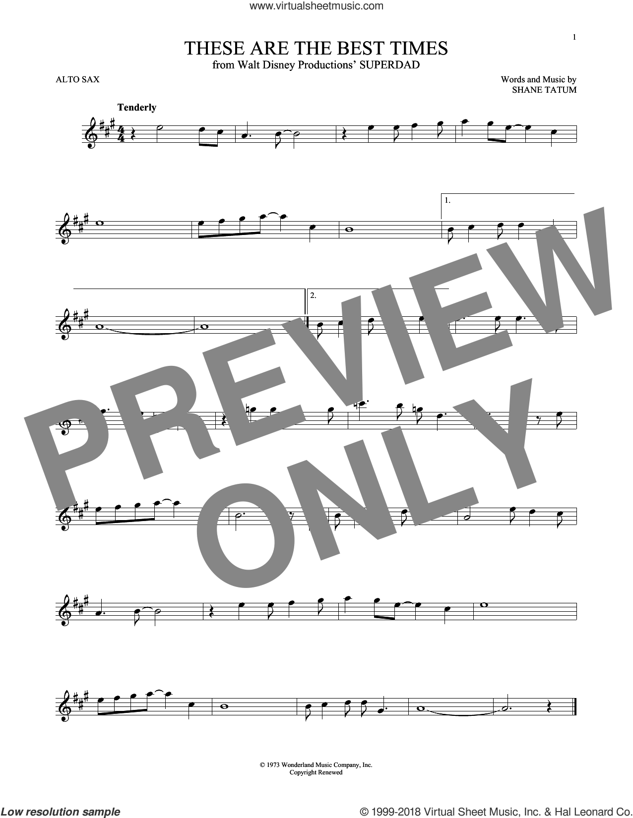 These Are The Best Times sheet music for alto saxophone solo by Shane Tatum, intermediate skill level