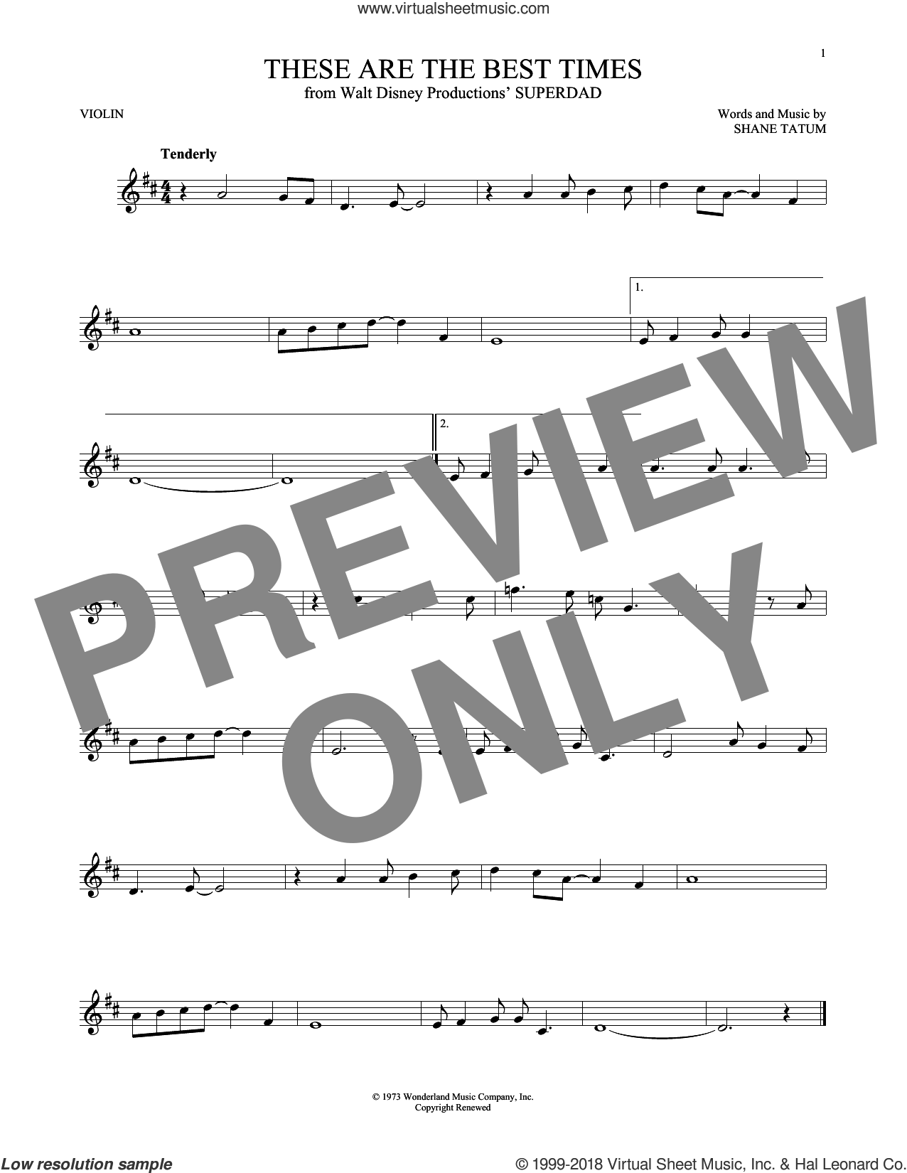 These Are The Best Times sheet music for violin solo by Shane Tatum, intermediate skill level