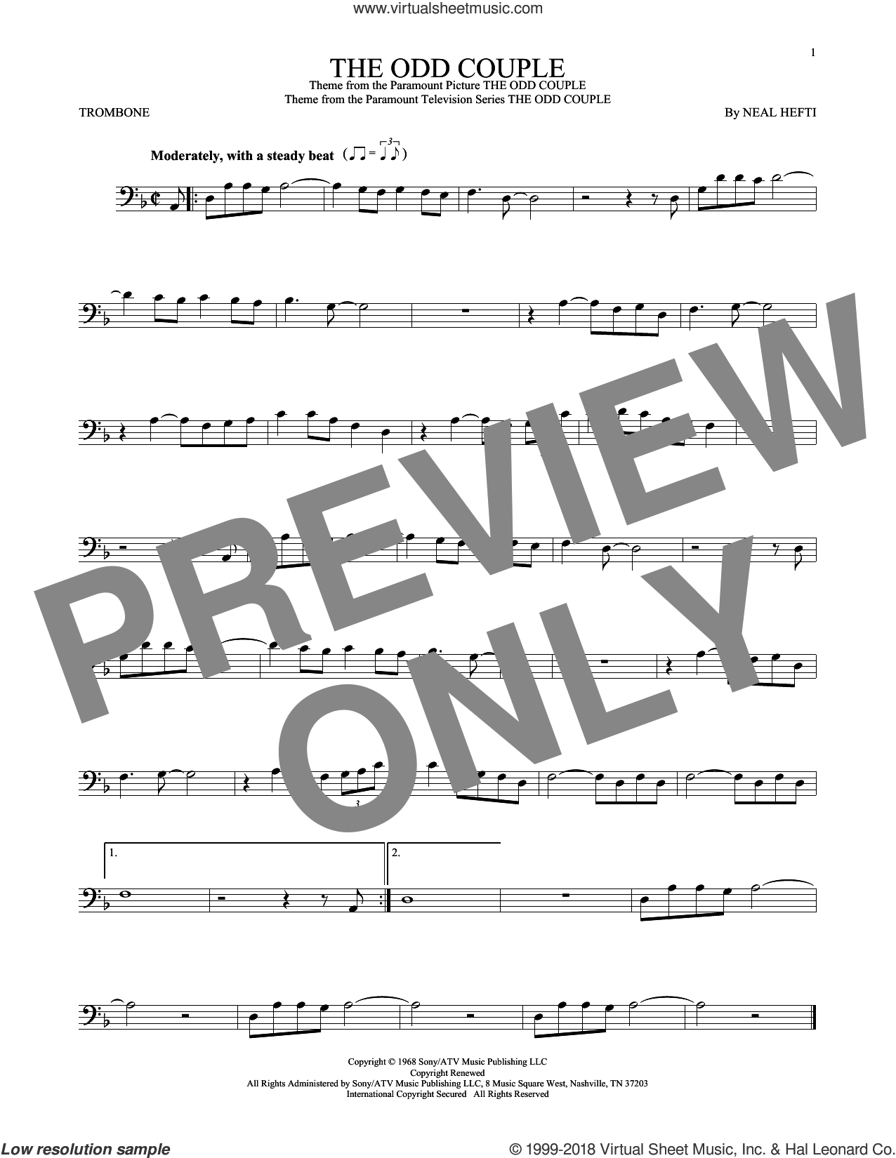 The Odd Couple sheet music for trombone solo by Sammy Cahn and Neal Hefti. Score Image Preview.