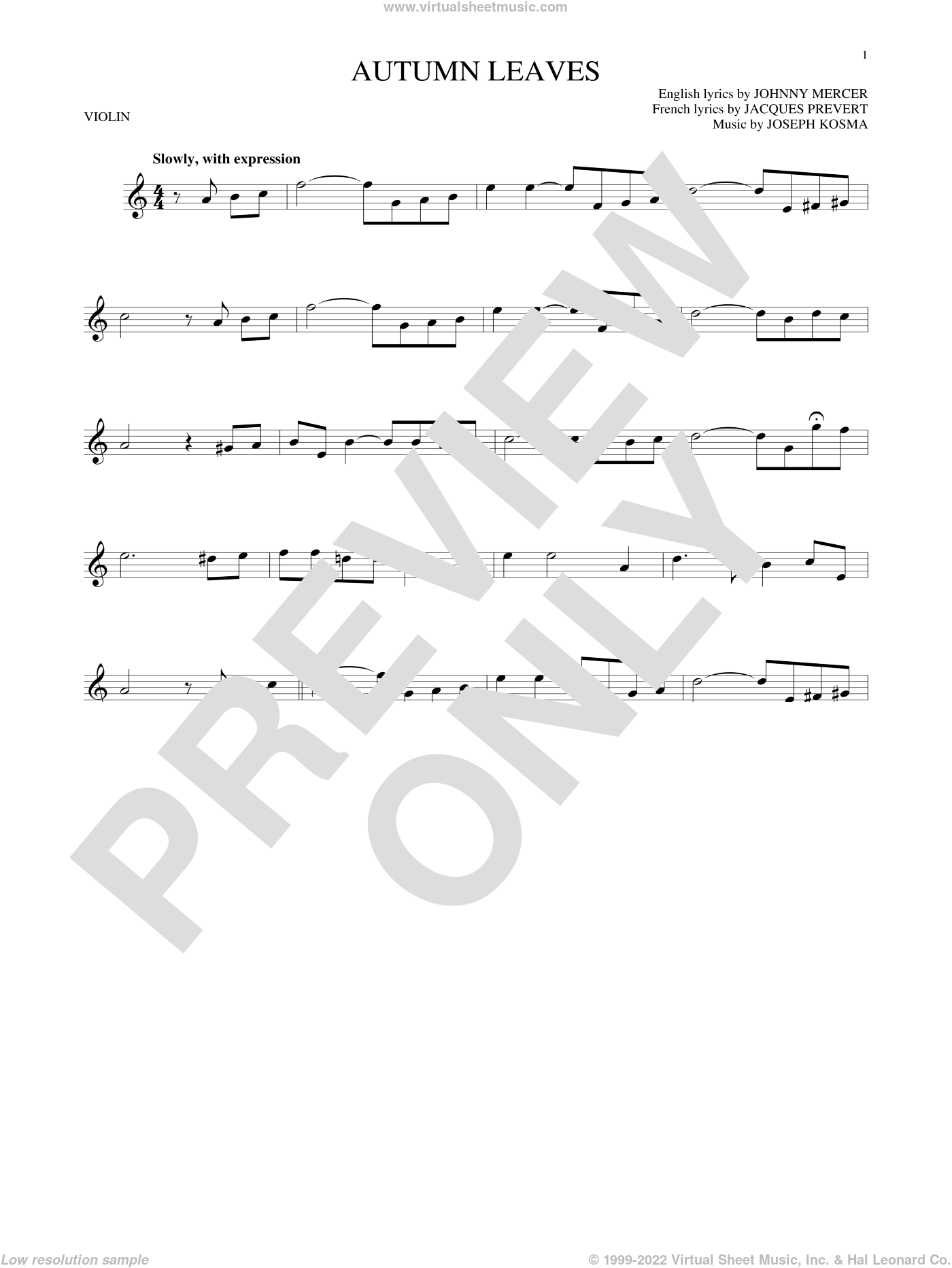 Autumn Leaves sheet music for violin solo by Johnny Mercer, Mitch Miller, Roger Williams, Steve Allen & George Cates, Jacques Prevert and Joseph Kosma, intermediate skill level