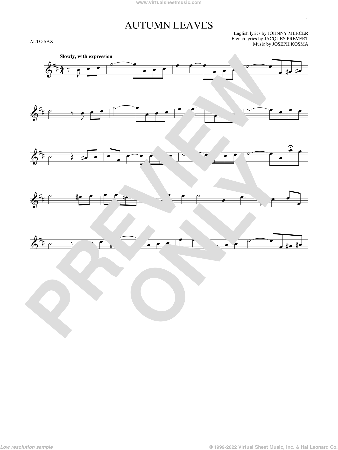 Autumn Leaves sheet music for alto saxophone solo by Johnny Mercer, Mitch Miller, Roger Williams, Steve Allen & George Cates, Jacques Prevert and Joseph Kosma, intermediate skill level