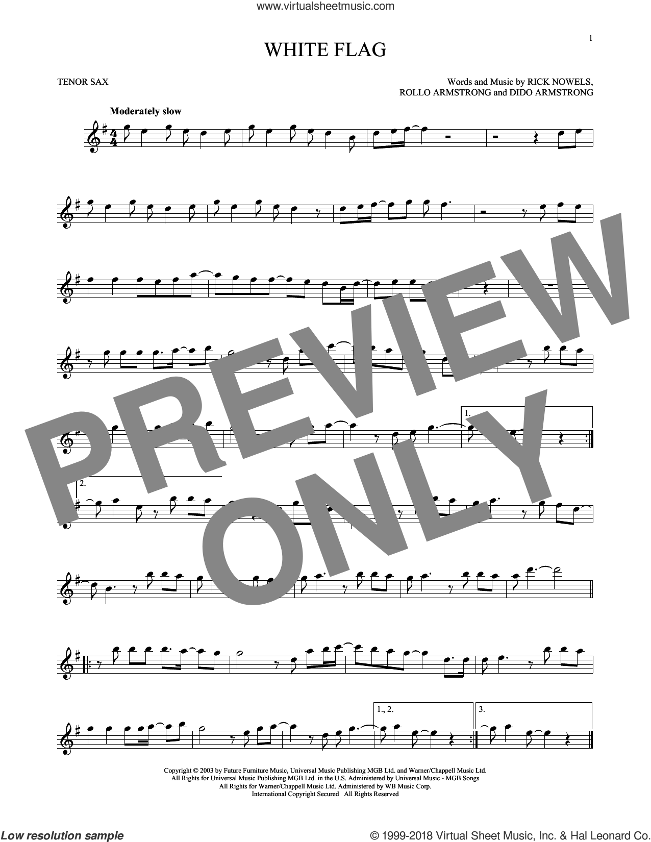 White Flag sheet music for tenor saxophone solo by Dido Armstrong, Rick Nowels and Rollo Armstrong, intermediate skill level