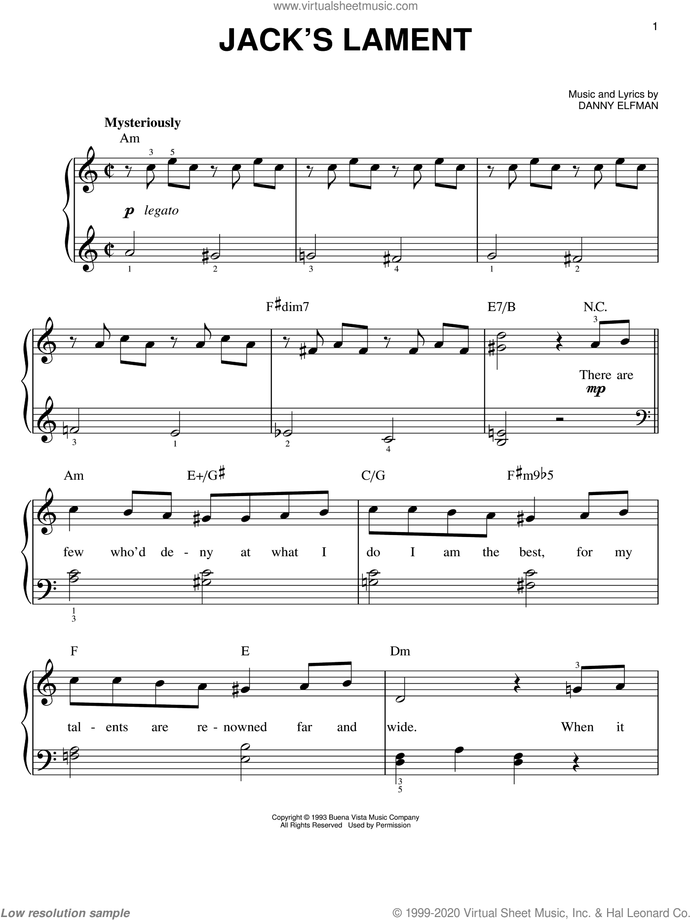 Jack's Lament (from The Nightmare Before Christmas) sheet music for piano solo by Danny Elfman and The Nightmare Before Christmas (Movie), easy skill level