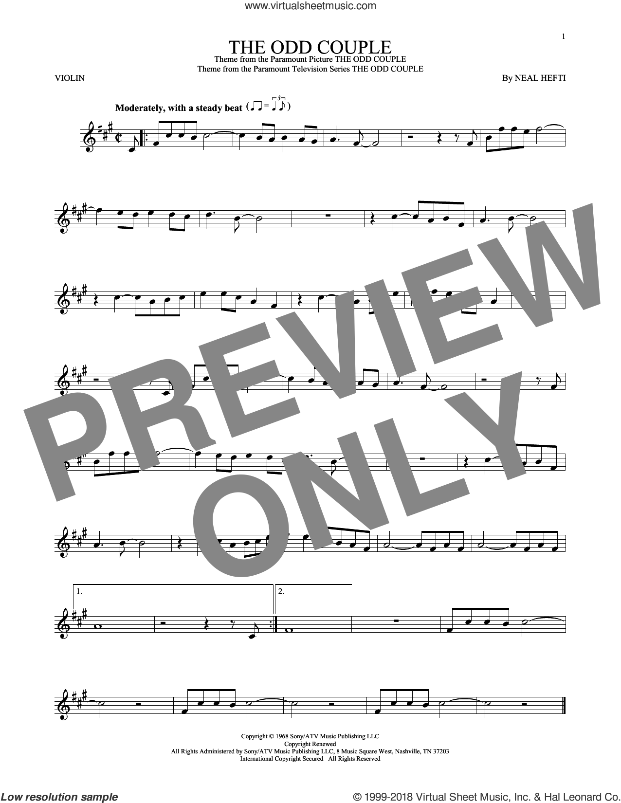 The Odd Couple sheet music for violin solo by Sammy Cahn and Neal Hefti. Score Image Preview.
