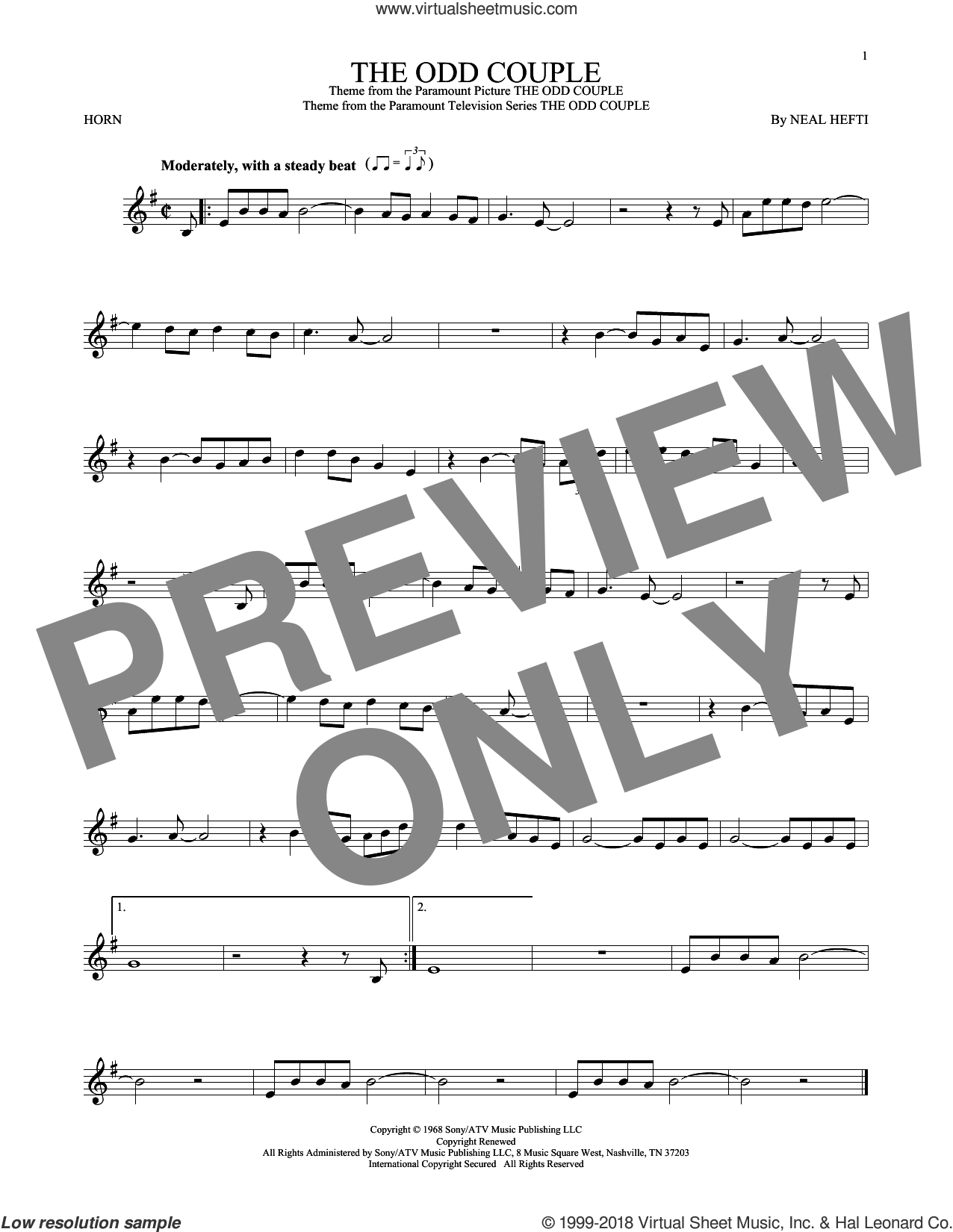 The Odd Couple sheet music for horn solo by Sammy Cahn and Neal Hefti, intermediate horn. Score Image Preview.