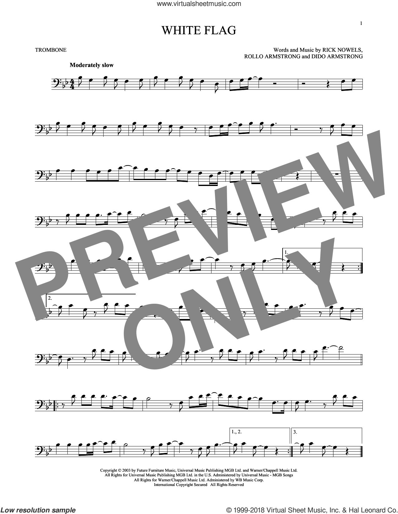 White Flag sheet music for trombone solo by Rollo Armstrong, Dido Armstrong and Rick Nowels. Score Image Preview.
