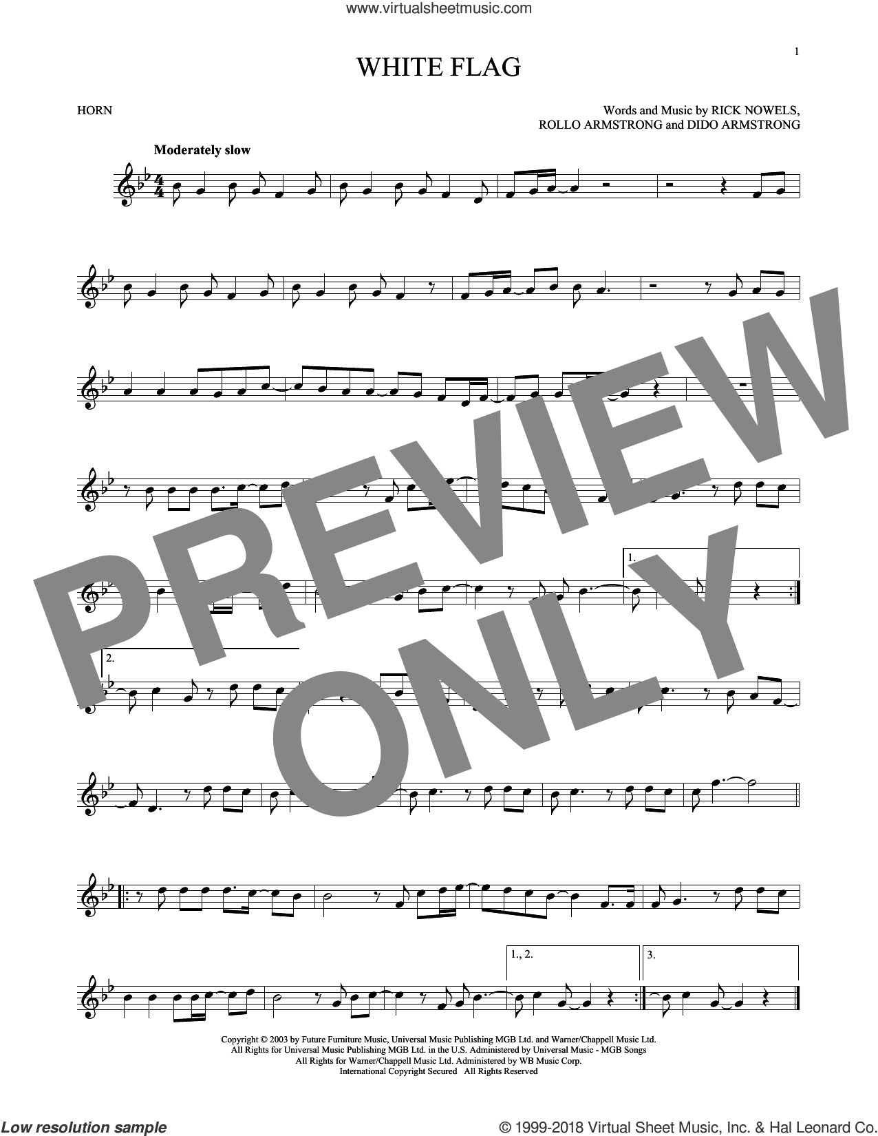 White Flag sheet music for horn solo by Rollo Armstrong, Dido Armstrong and Rick Nowels. Score Image Preview.