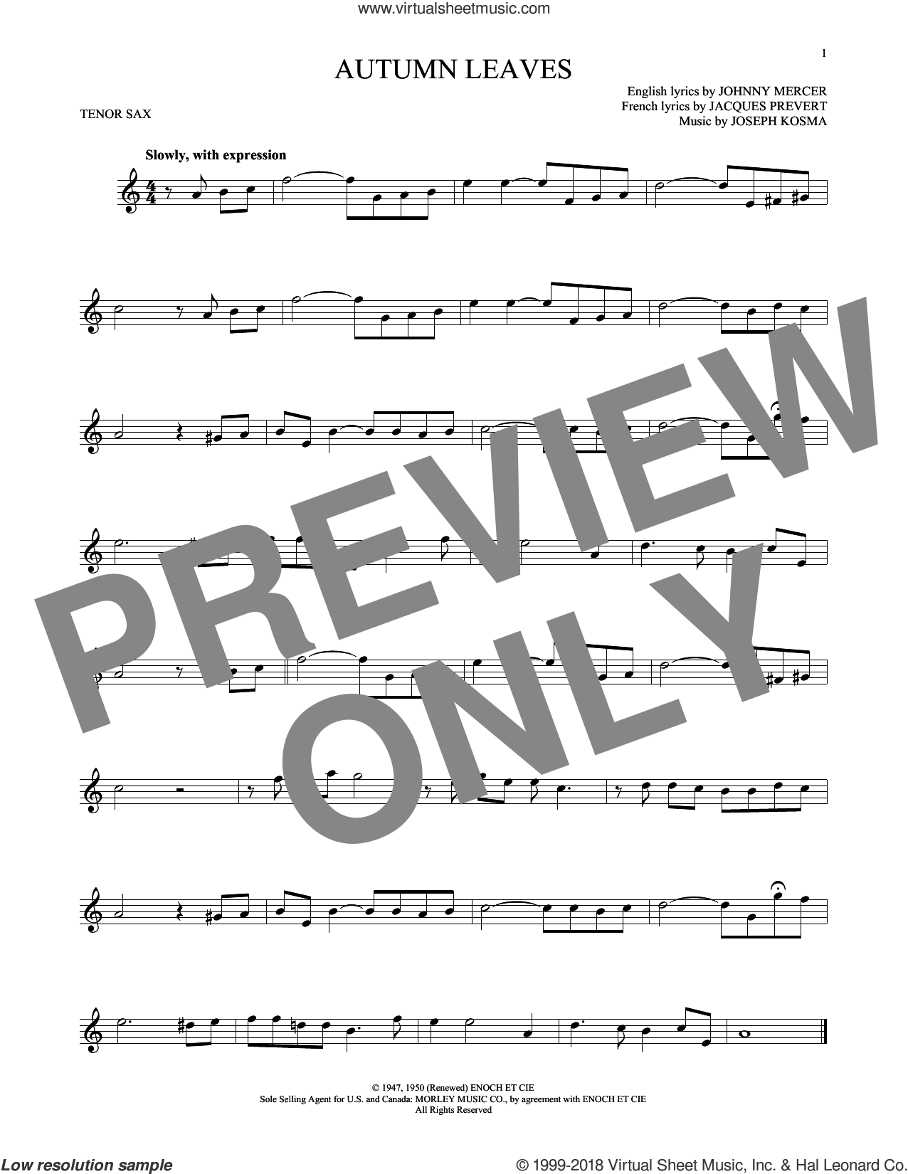 Autumn Leaves sheet music for tenor saxophone solo by Johnny Mercer, Mitch Miller, Roger Williams, Steve Allen & George Cates, Jacques Prevert and Joseph Kosma, intermediate skill level