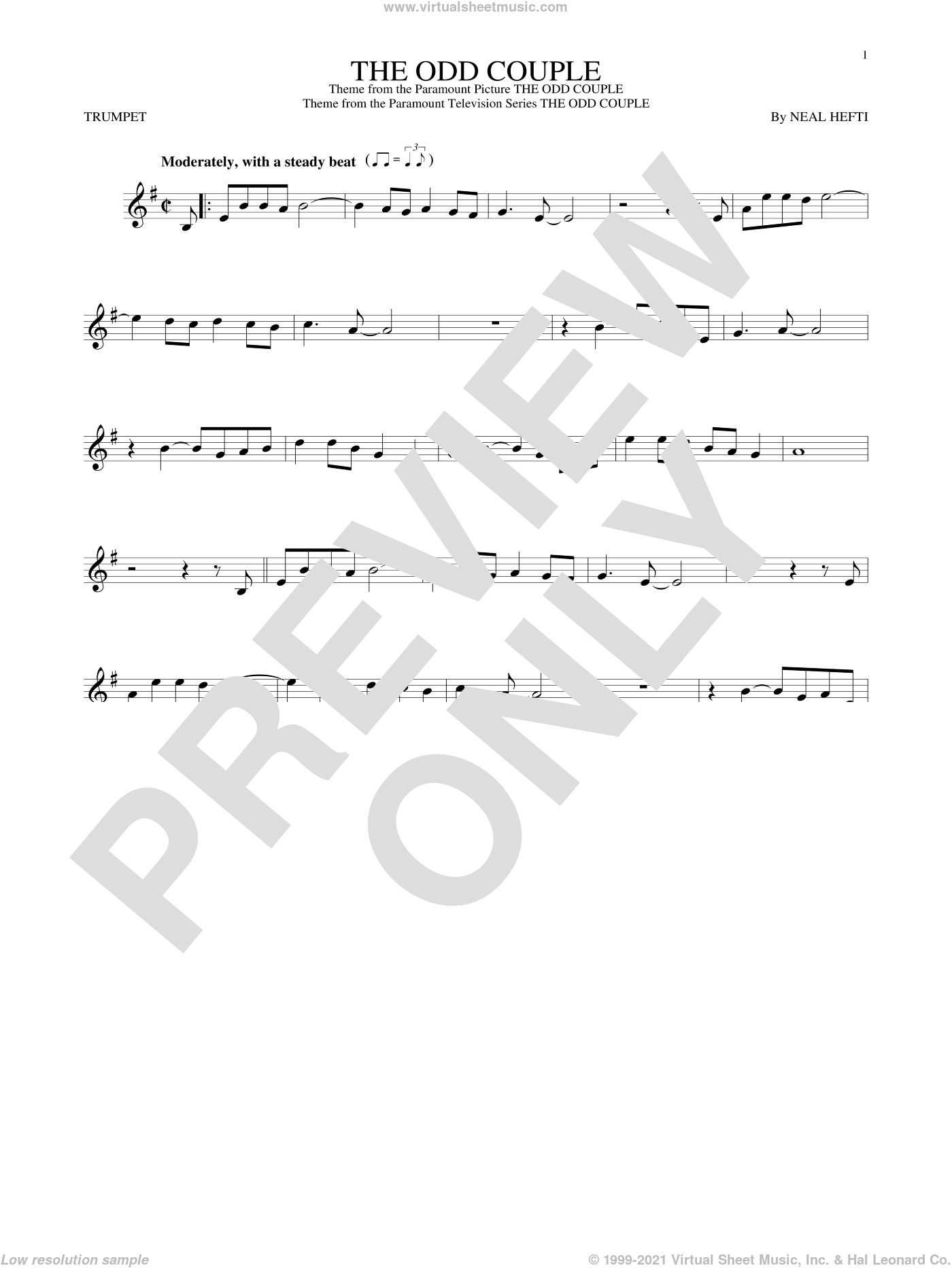The Odd Couple sheet music for trumpet solo by Sammy Cahn and Neal Hefti. Score Image Preview.