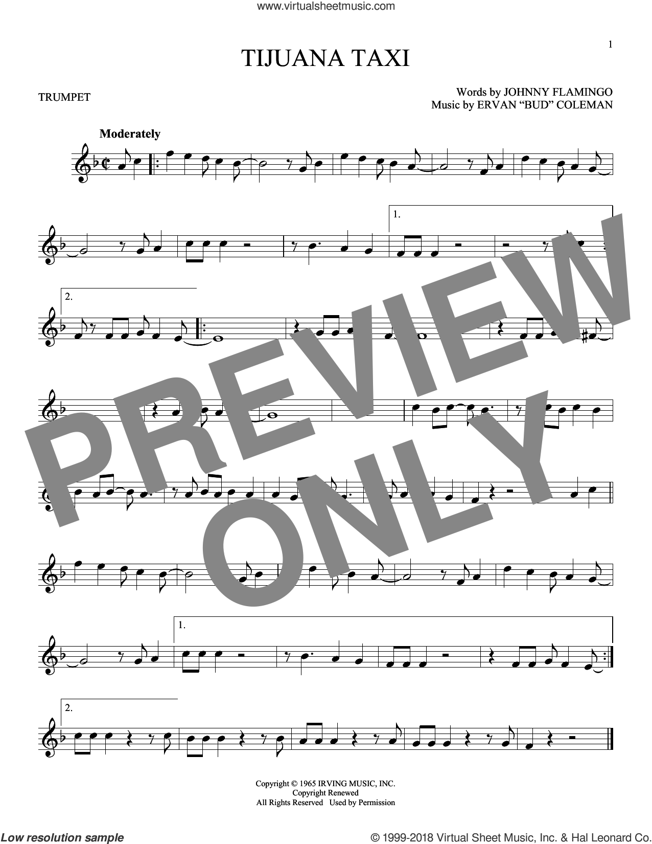 Tijuana Taxi sheet music for trumpet solo by Johnny Flamingo and Ervan