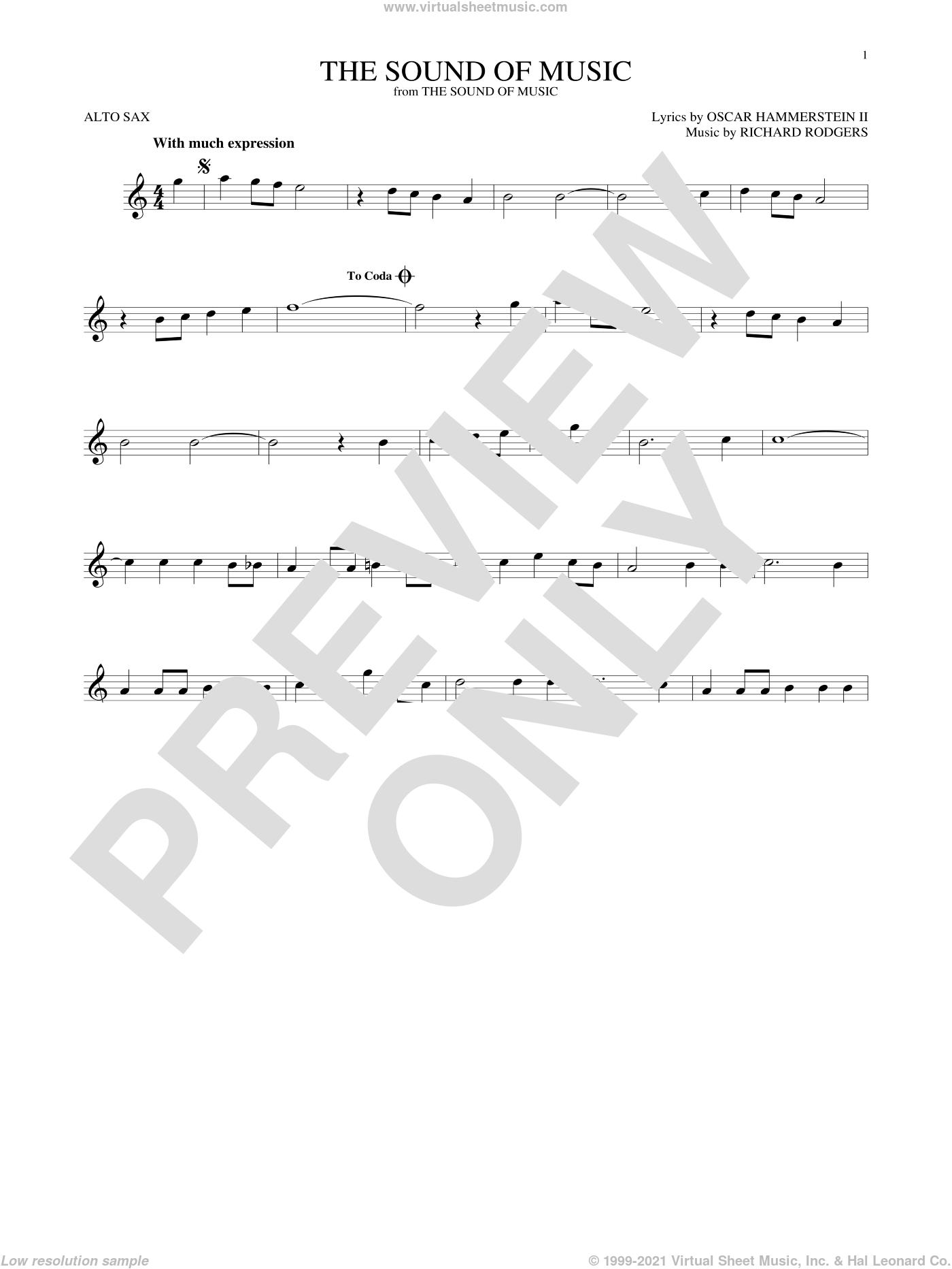 The Sound Of Music sheet music for alto saxophone solo ( Sax) by Richard Rodgers, Oscar II Hammerstein and Rodgers & Hammerstein, intermediate alto saxophone ( Sax). Score Image Preview.