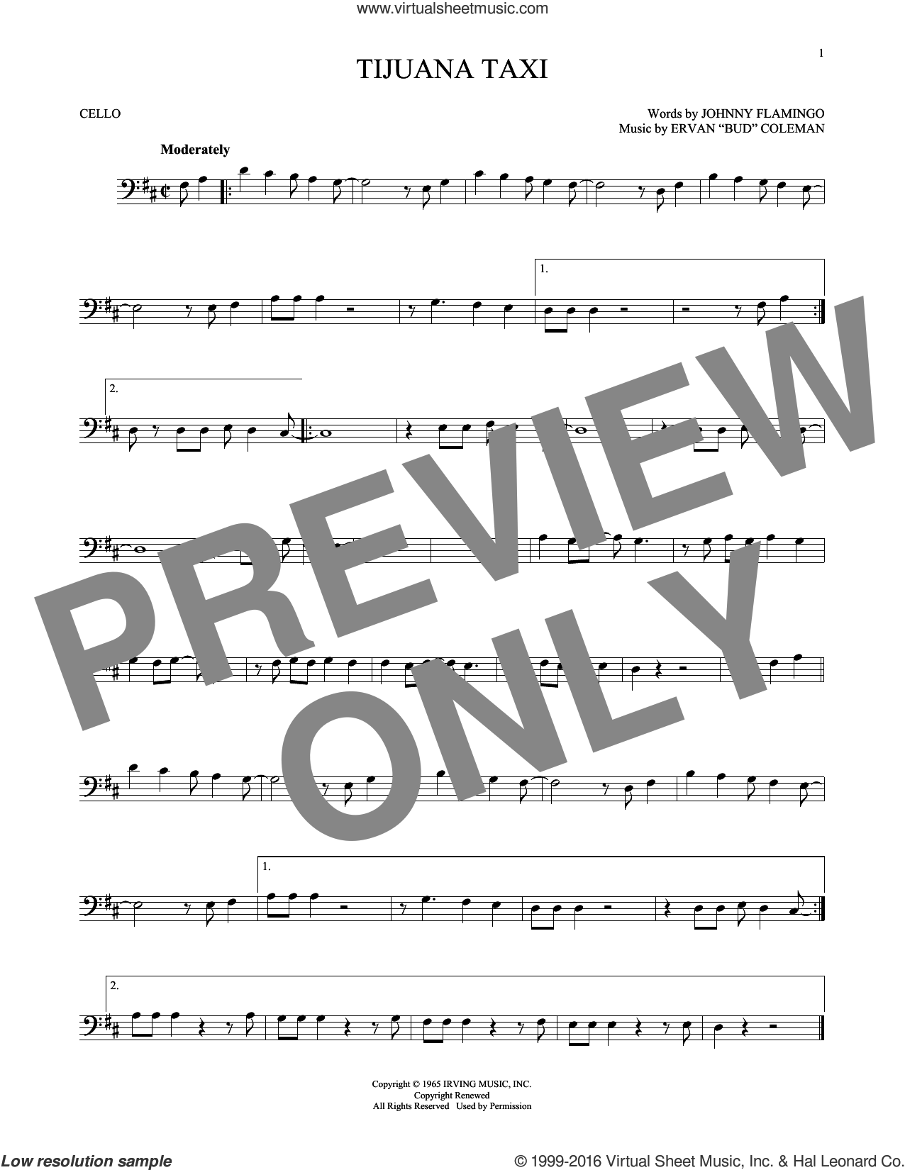 Tijuana Taxi sheet music for cello solo by Johnny Flamingo and Ervan