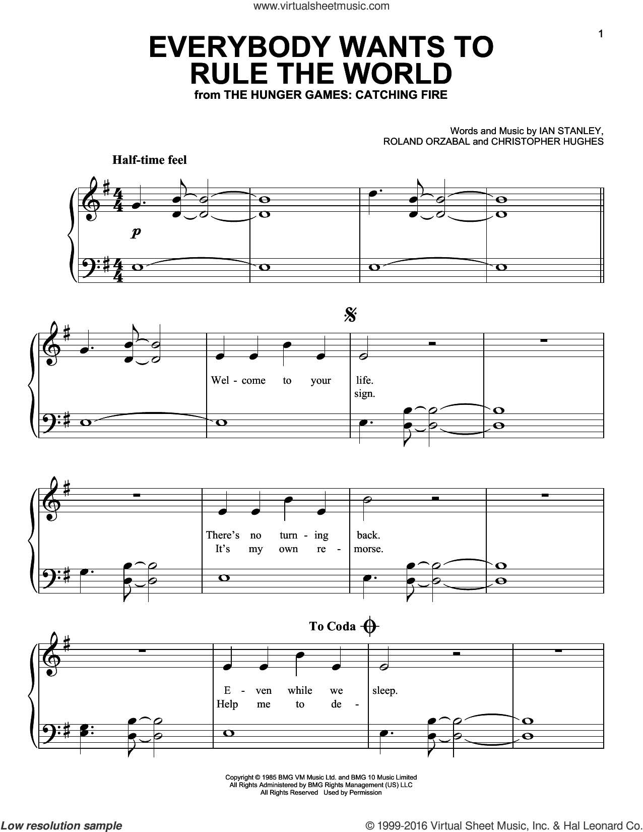 Everybody Wants To Rule The World sheet music for piano solo by Roland Orzabal and Tears For Fears. Score Image Preview.