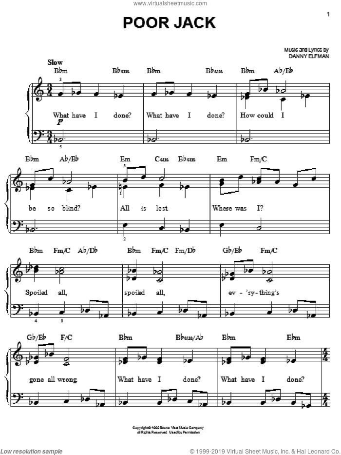 Poor Jack sheet music for piano solo by Danny Elfman. Score Image Preview.