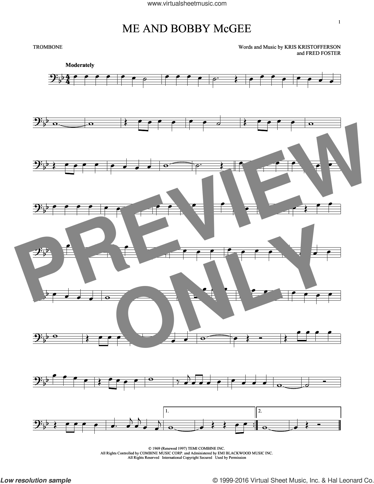 Me And Bobby McGee sheet music for trombone solo by Kris Kristofferson, Janis Joplin, Roger Miller and Fred Foster, intermediate skill level