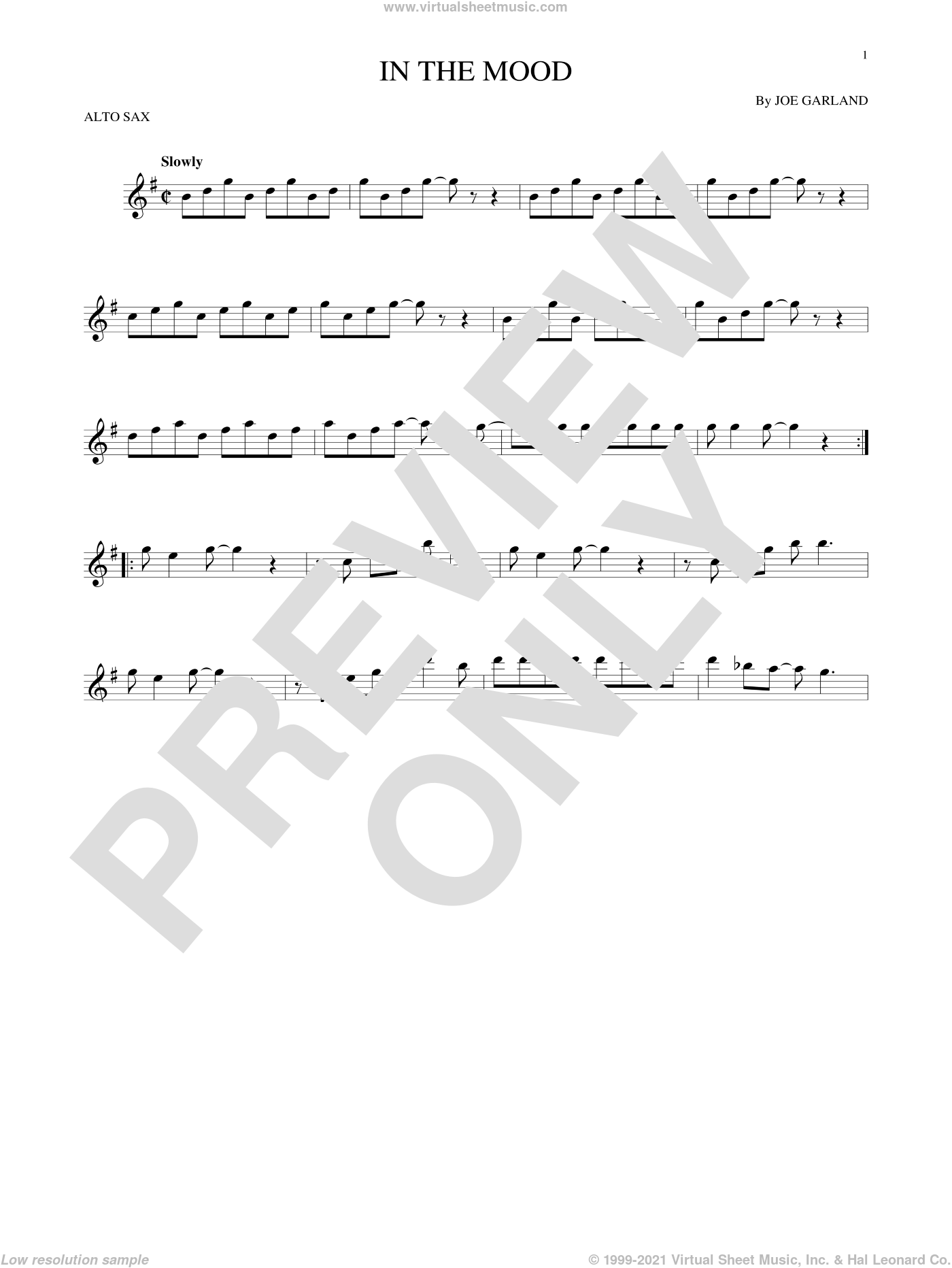 In The Mood sheet music for alto saxophone solo by Joe Garland and Glenn Miller & His Orchestra, intermediate skill level
