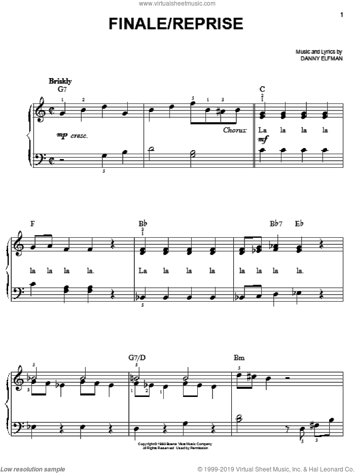 Finale/Reprise sheet music for piano solo by Danny Elfman, Christmas carol score, easy piano. Score Image Preview.