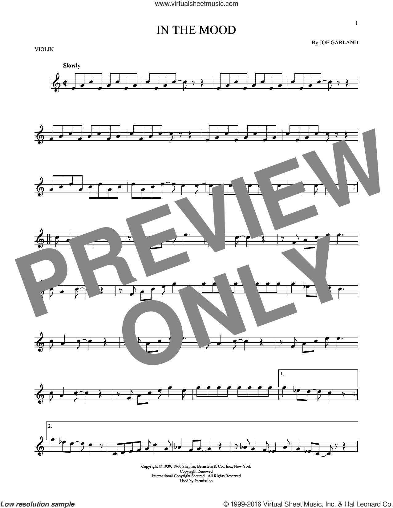 In The Mood sheet music for violin solo by Joe Garland and Glenn Miller & His Orchestra, intermediate skill level