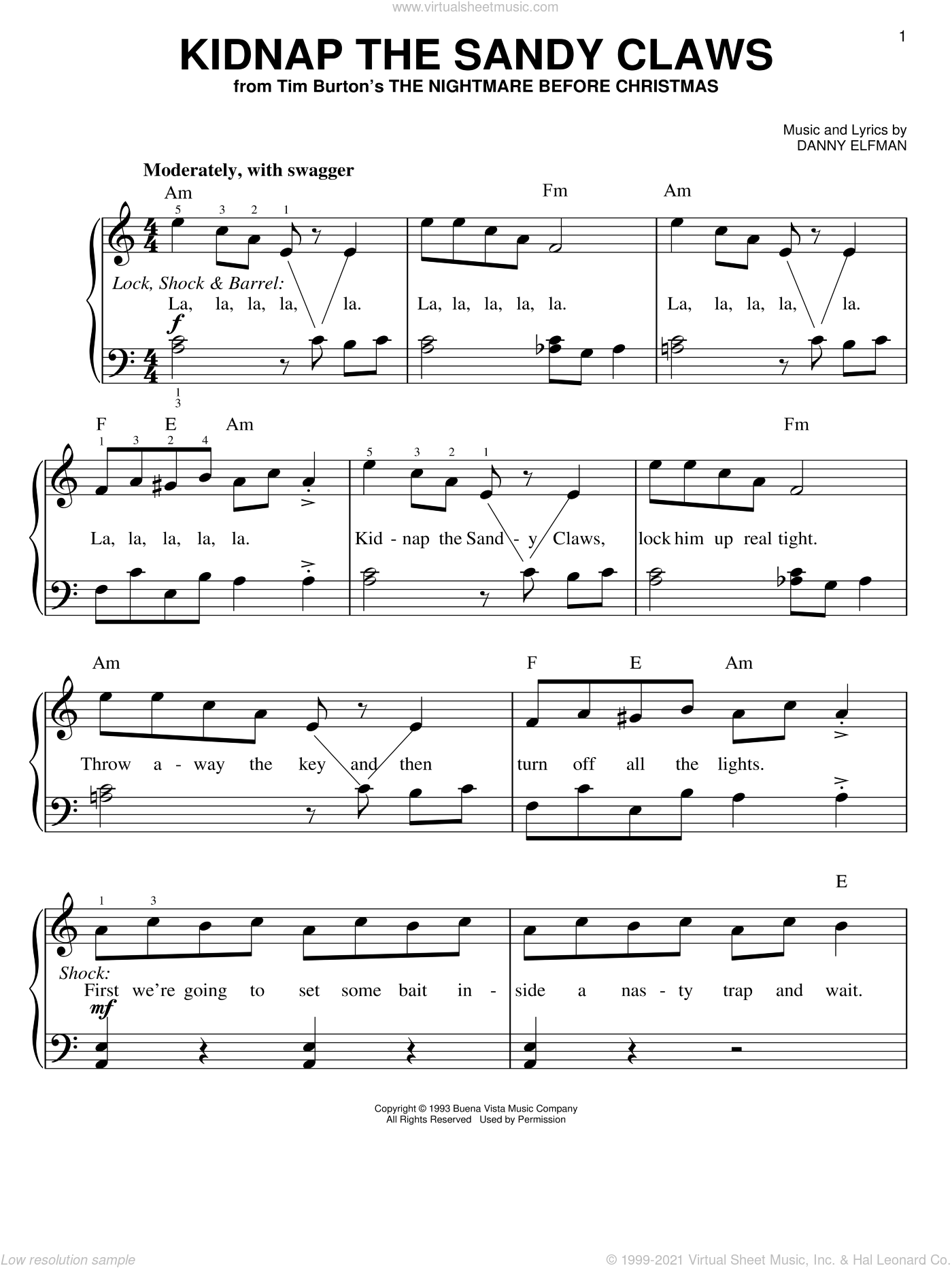 Kidnap The Sandy Claws (from The Nightmare Before Christmas) sheet music for piano solo by Danny Elfman and The Nightmare Before Christmas (Movie), easy skill level
