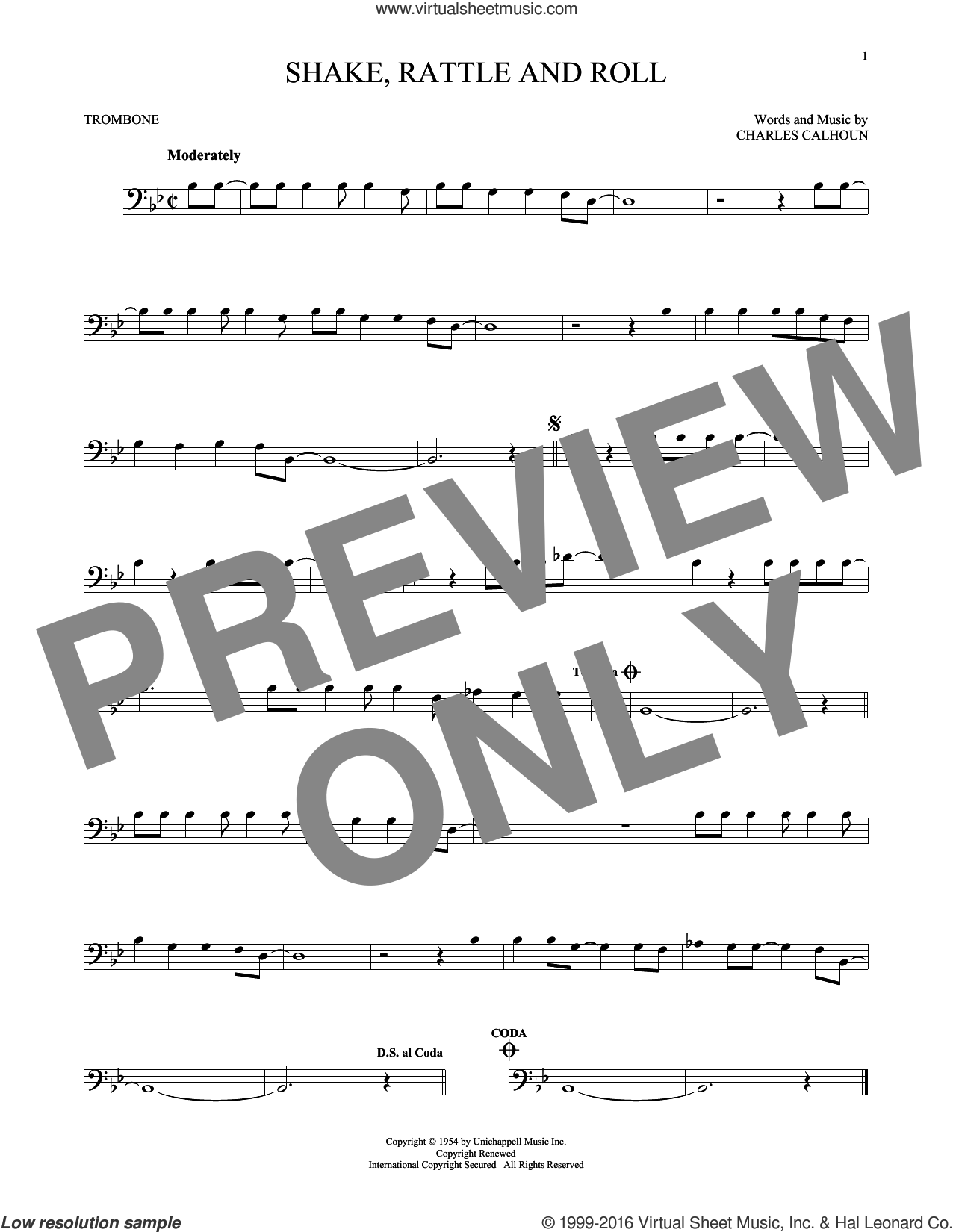 Shake, Rattle And Roll sheet music for trombone solo by Bill Haley & His Comets, Arthur Conley and Charles Calhoun, intermediate skill level