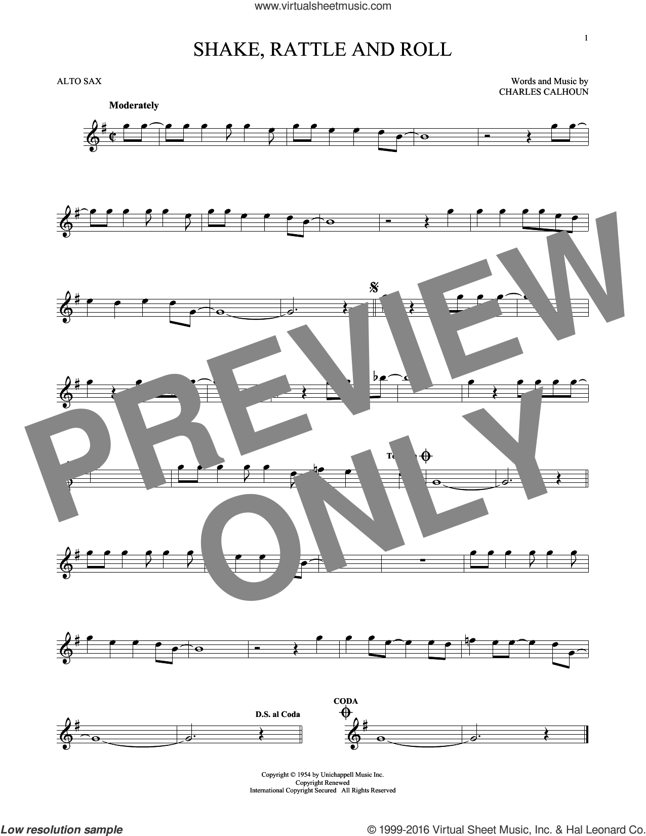 Shake, Rattle And Roll sheet music for alto saxophone solo by Charles Calhoun, Arthur Conley and Bill Haley & His Comets. Score Image Preview.