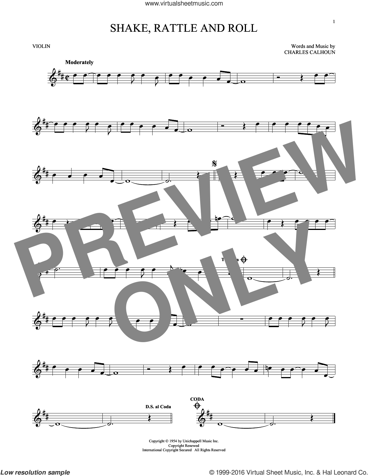 Shake, Rattle And Roll sheet music for violin solo by Bill Haley & His Comets, Arthur Conley and Charles Calhoun. Score Image Preview.