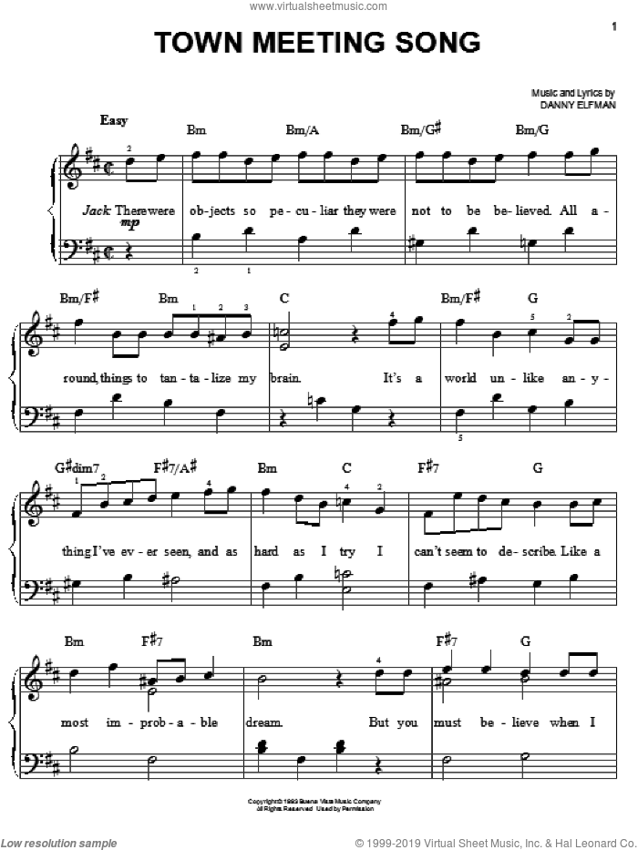 Town Meeting Song sheet music for piano solo by Danny Elfman and The Nightmare Before Christmas (Movie), easy skill level