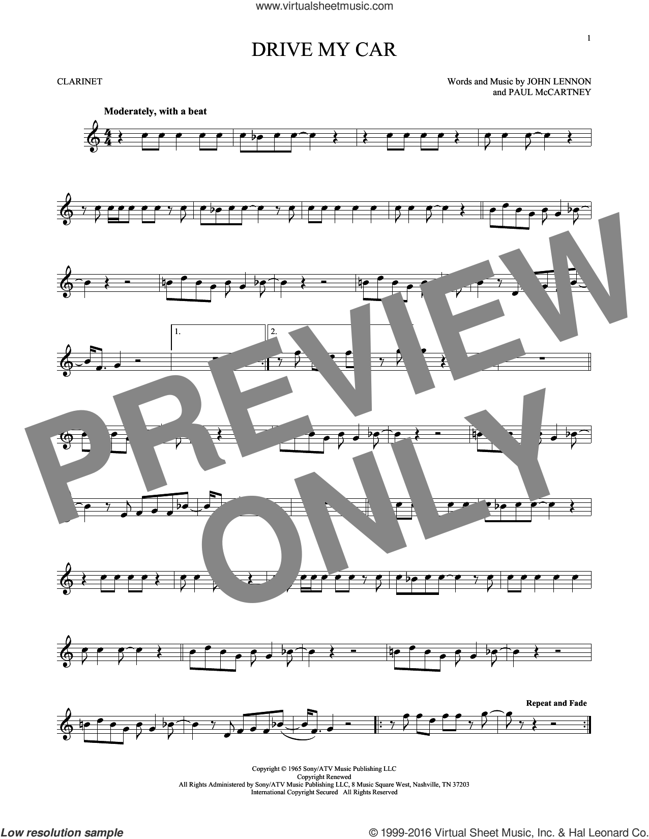 Drive My Car sheet music for clarinet solo by The Beatles, John Lennon and Paul McCartney, intermediate skill level
