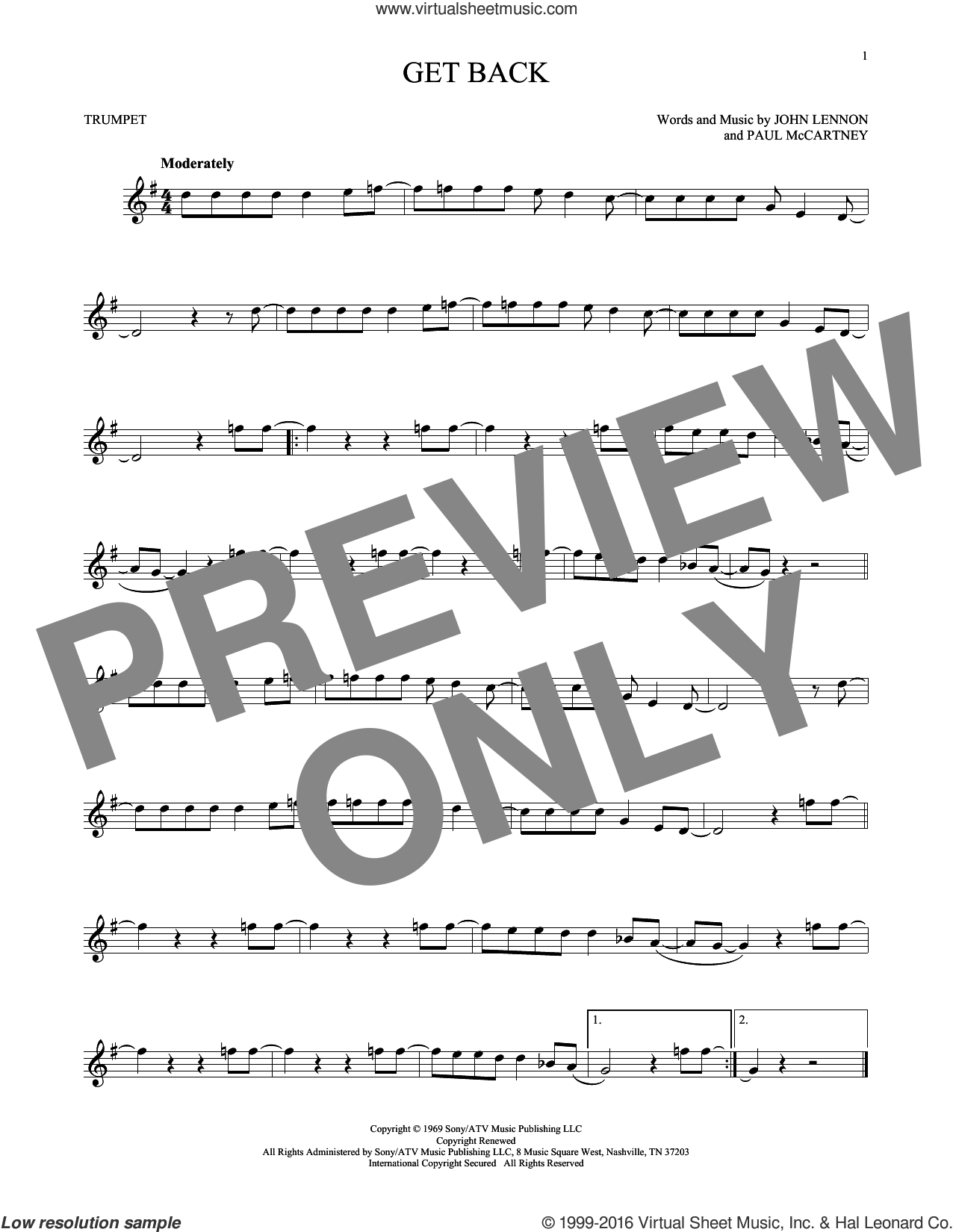 Get Back sheet music for trumpet solo by The Beatles, John Lennon and Paul McCartney, intermediate skill level
