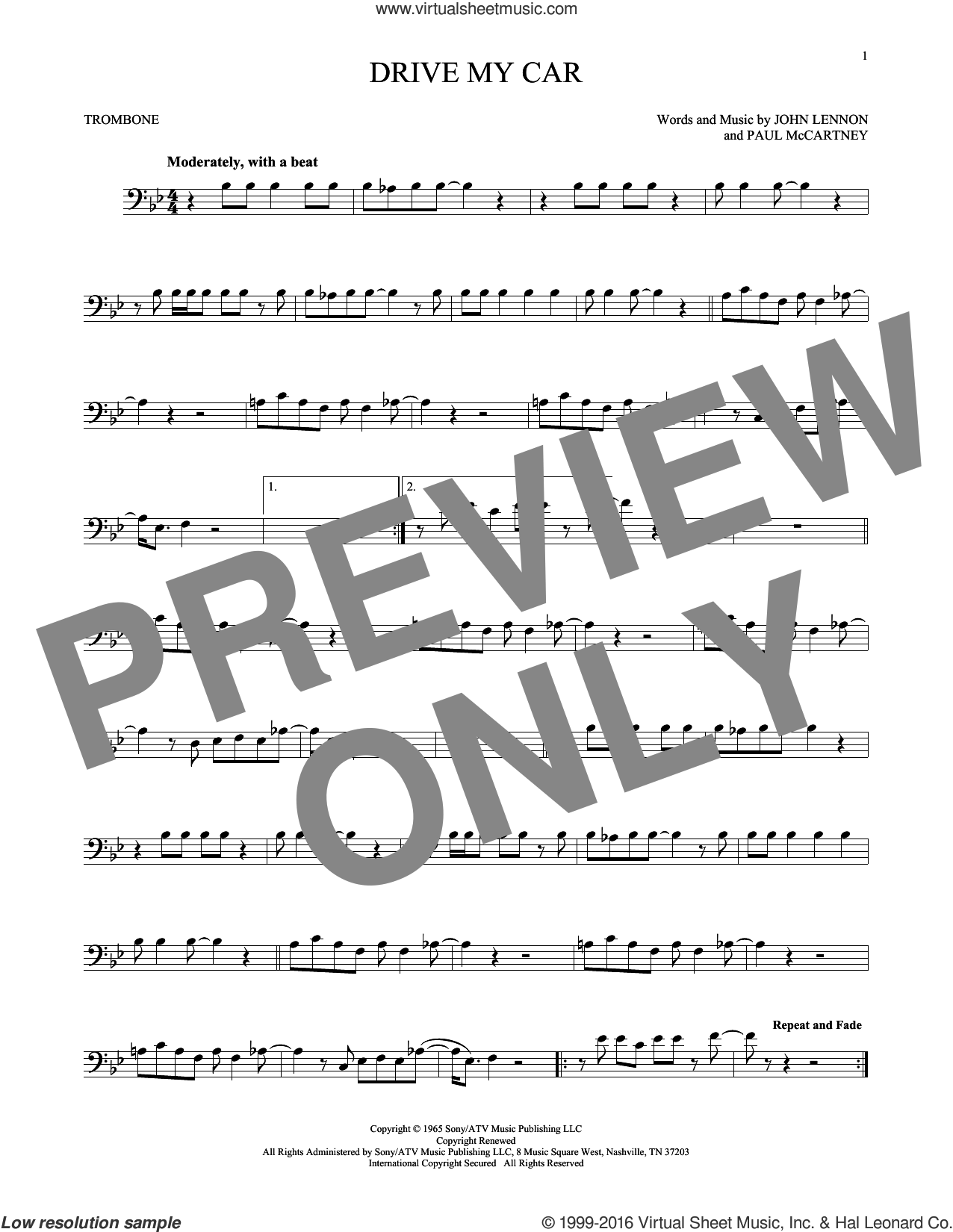 Drive My Car sheet music for trombone solo by The Beatles, John Lennon and Paul McCartney, intermediate skill level