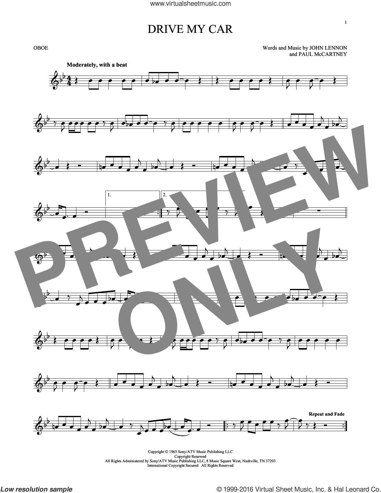 Drive My Car sheet music for oboe solo by The Beatles, John Lennon and Paul McCartney, intermediate oboe. Score Image Preview.