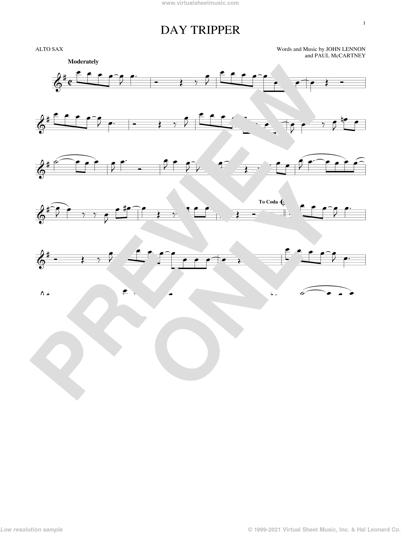 Day Tripper sheet music for alto saxophone solo by The Beatles, John Lennon and Paul McCartney. Score Image Preview.