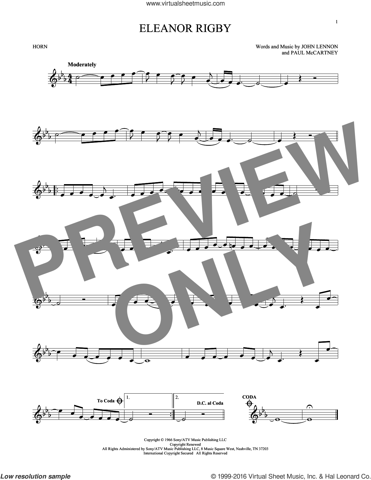 Eleanor Rigby sheet music for horn solo by The Beatles, David Cook, John Lennon and Paul McCartney, intermediate. Score Image Preview.