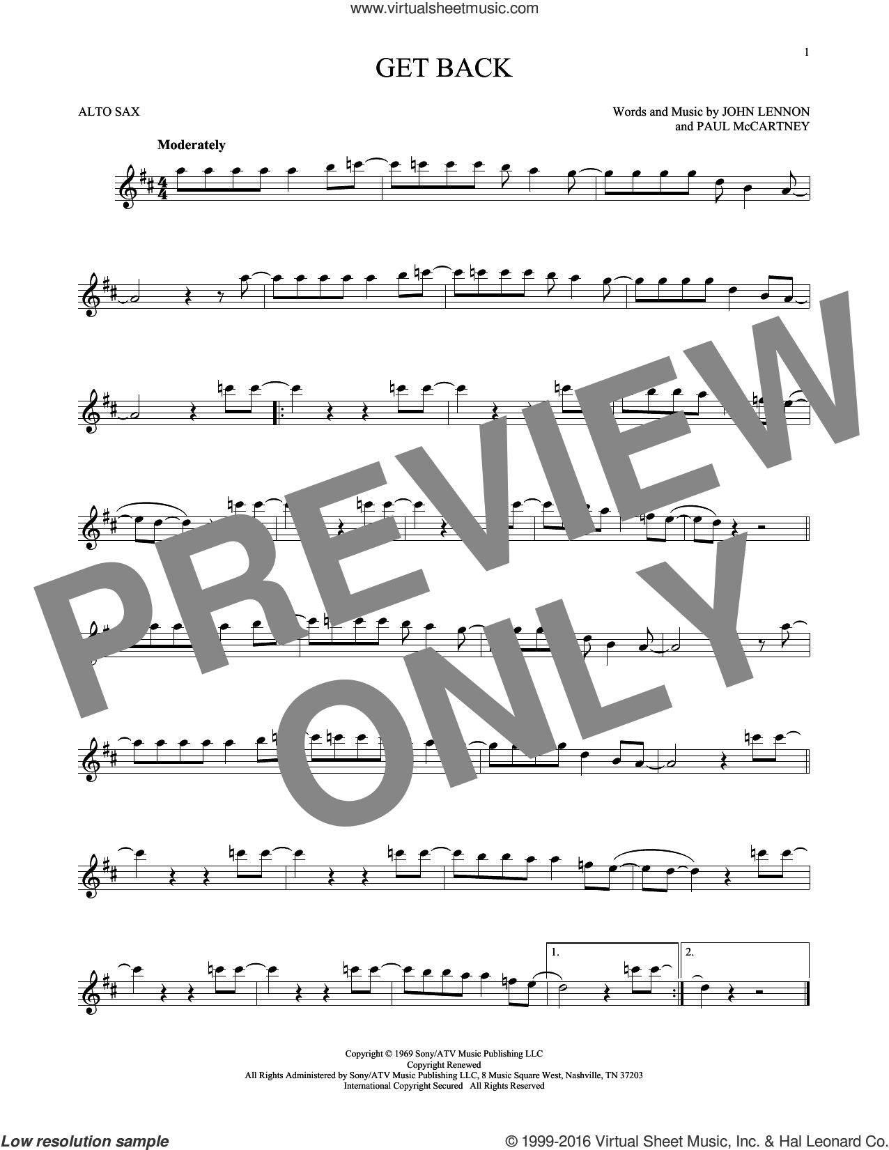 Get Back sheet music for alto saxophone solo by The Beatles, John Lennon and Paul McCartney, intermediate skill level